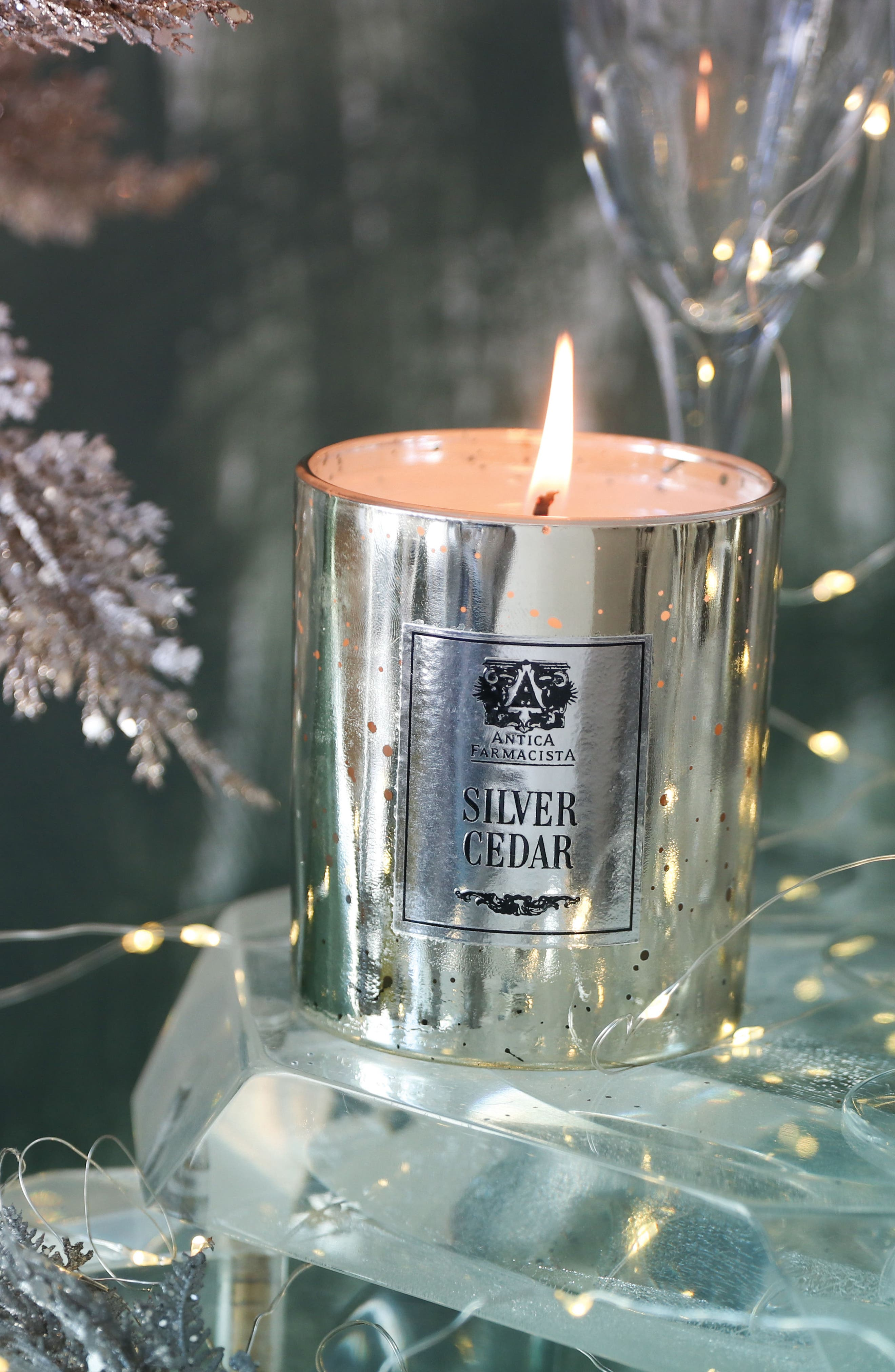 Silver Cedar Mercury Glass Candle,                             Alternate thumbnail 3, color,                             000