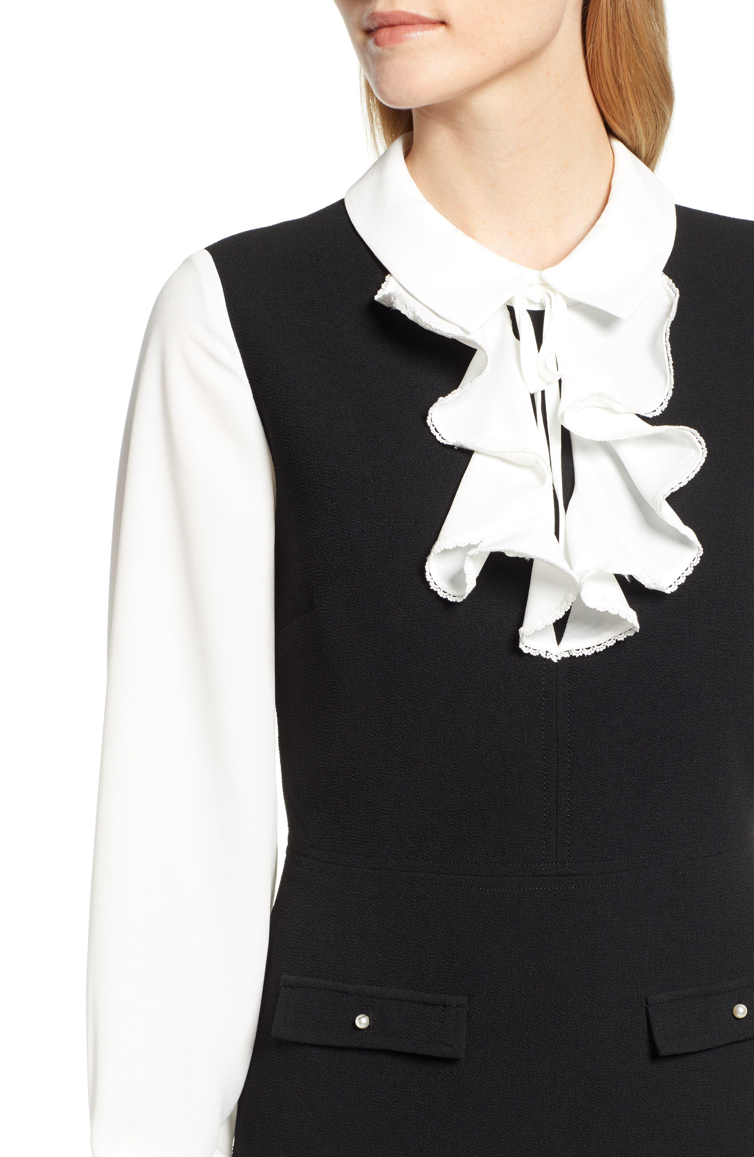 Ruffle Sweater Dress,                             Alternate thumbnail 4, color,                             BLACK/ WHITE