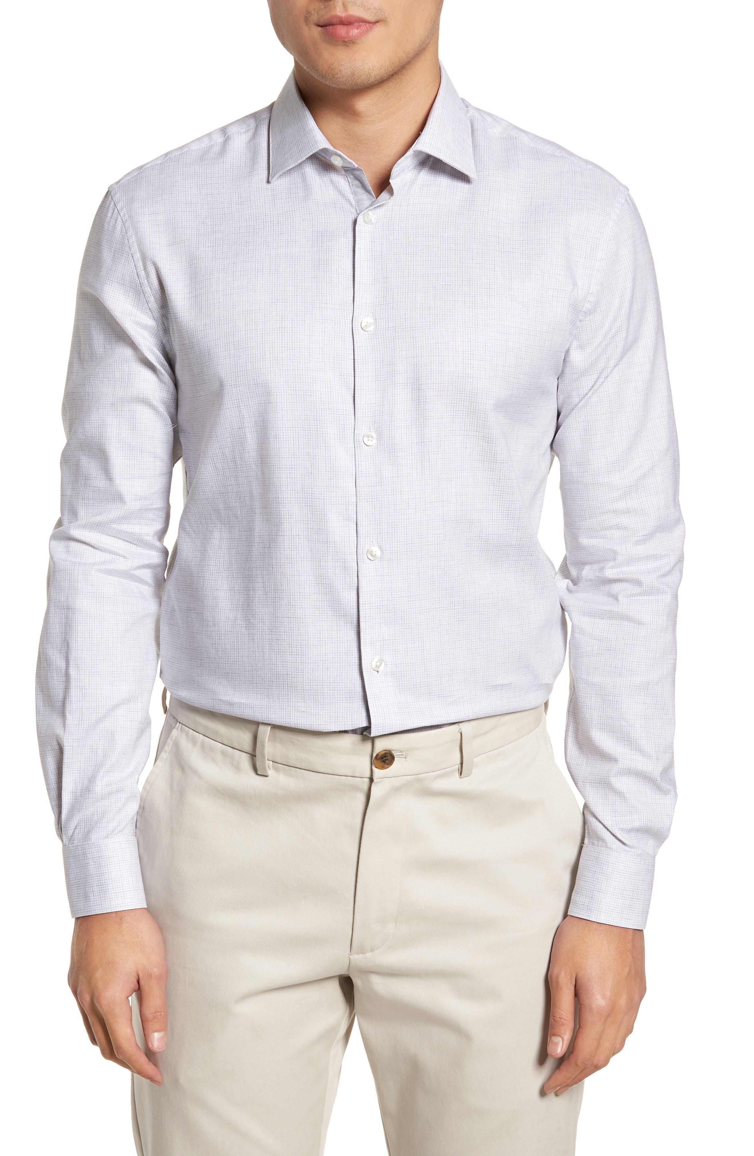 Slim Fit Microcheck Dress Shirt,                             Main thumbnail 1, color,                             055