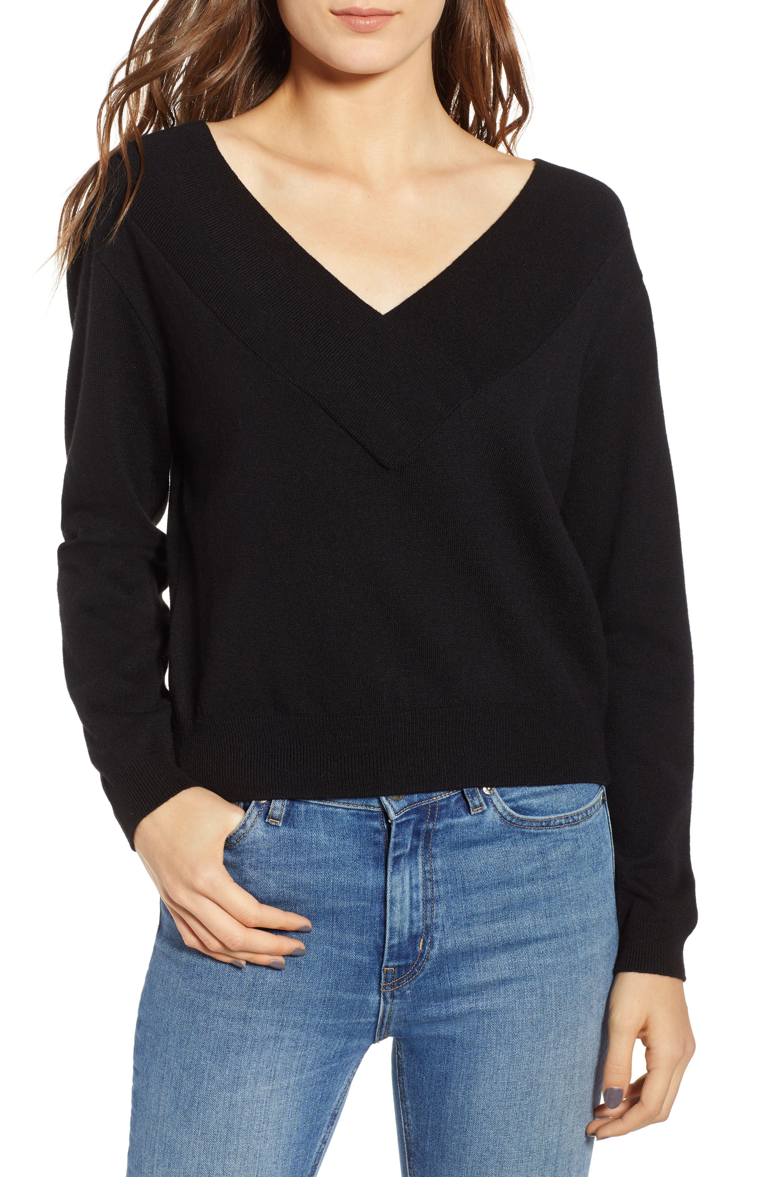 Double-V Pullover,                             Main thumbnail 1, color,                             001