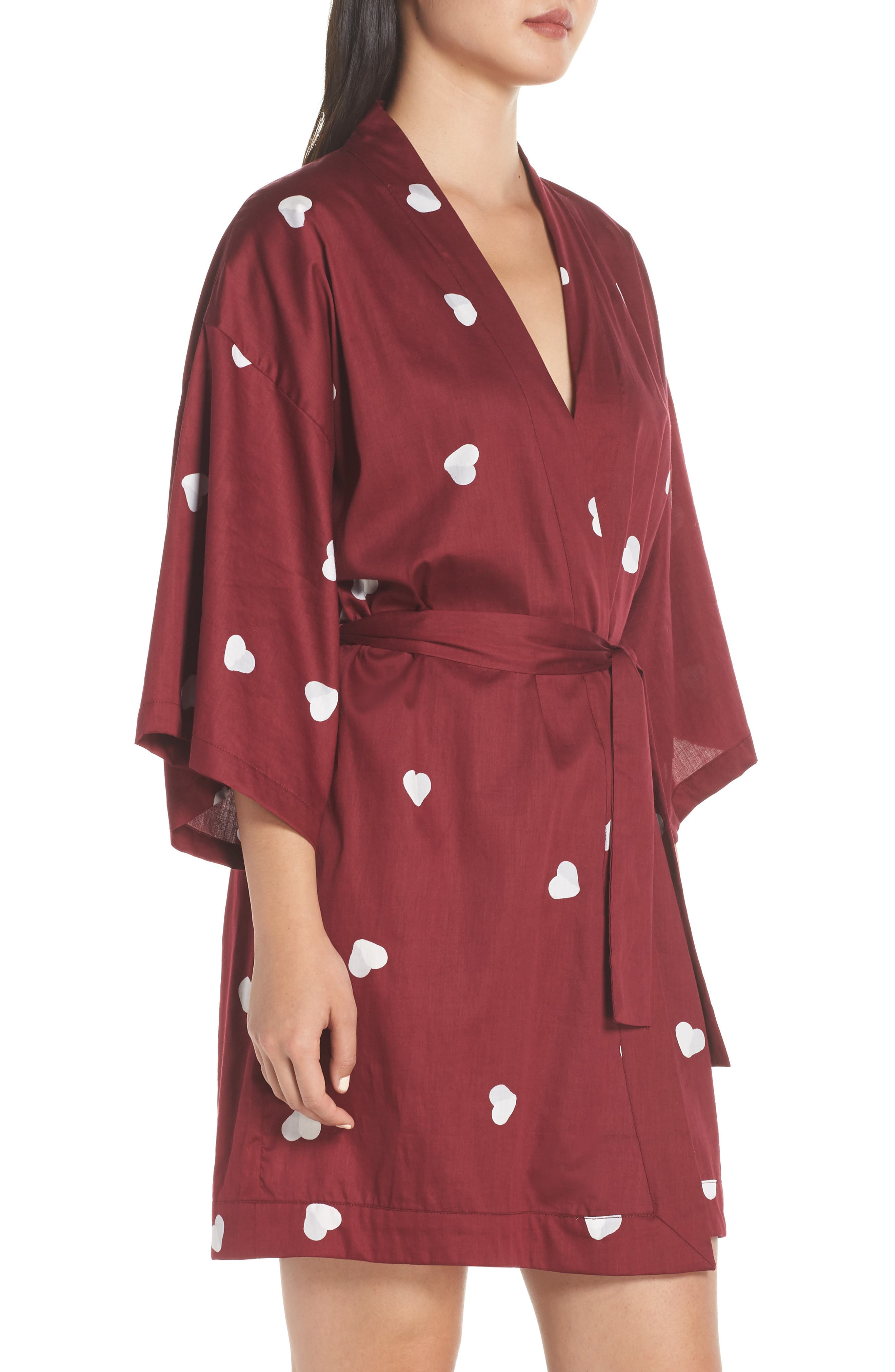 Margaux Short Cotton Robe,                             Alternate thumbnail 3, color,                             LONELY HEARTS MAROON