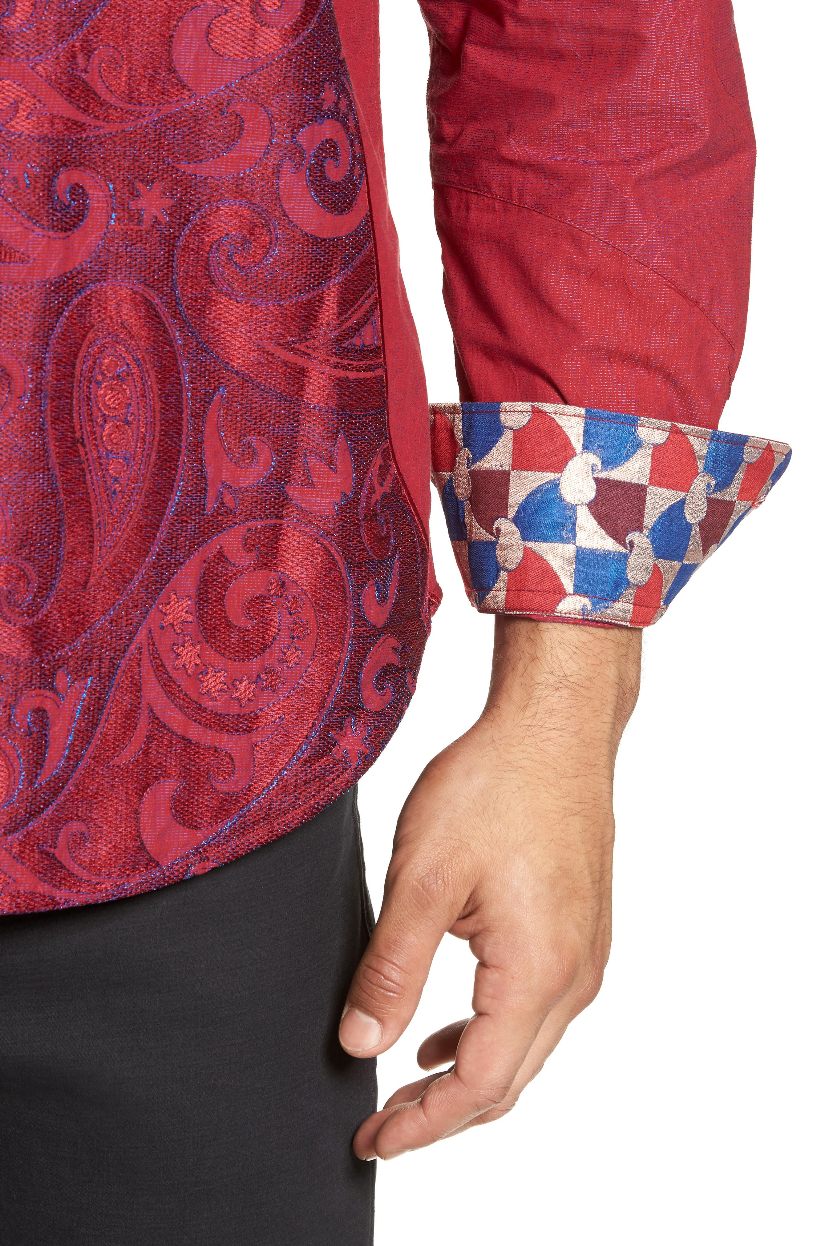 Lyons Hearted Limited Edition Classic Fit Sport Shirt,                             Alternate thumbnail 2, color,                             RED