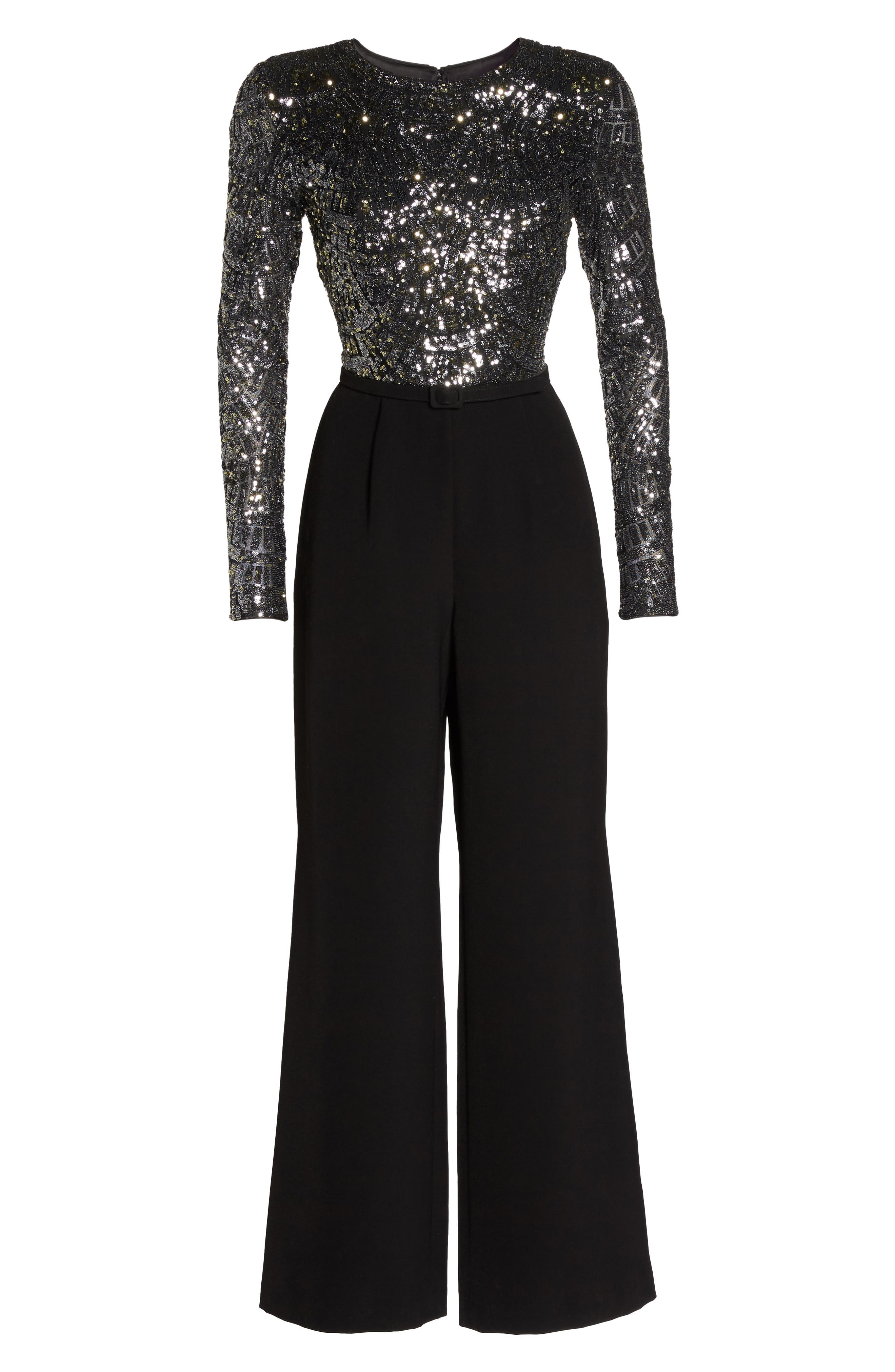 Belted Sequin & Crepe Jumpsuit,                             Alternate thumbnail 6, color,                             046