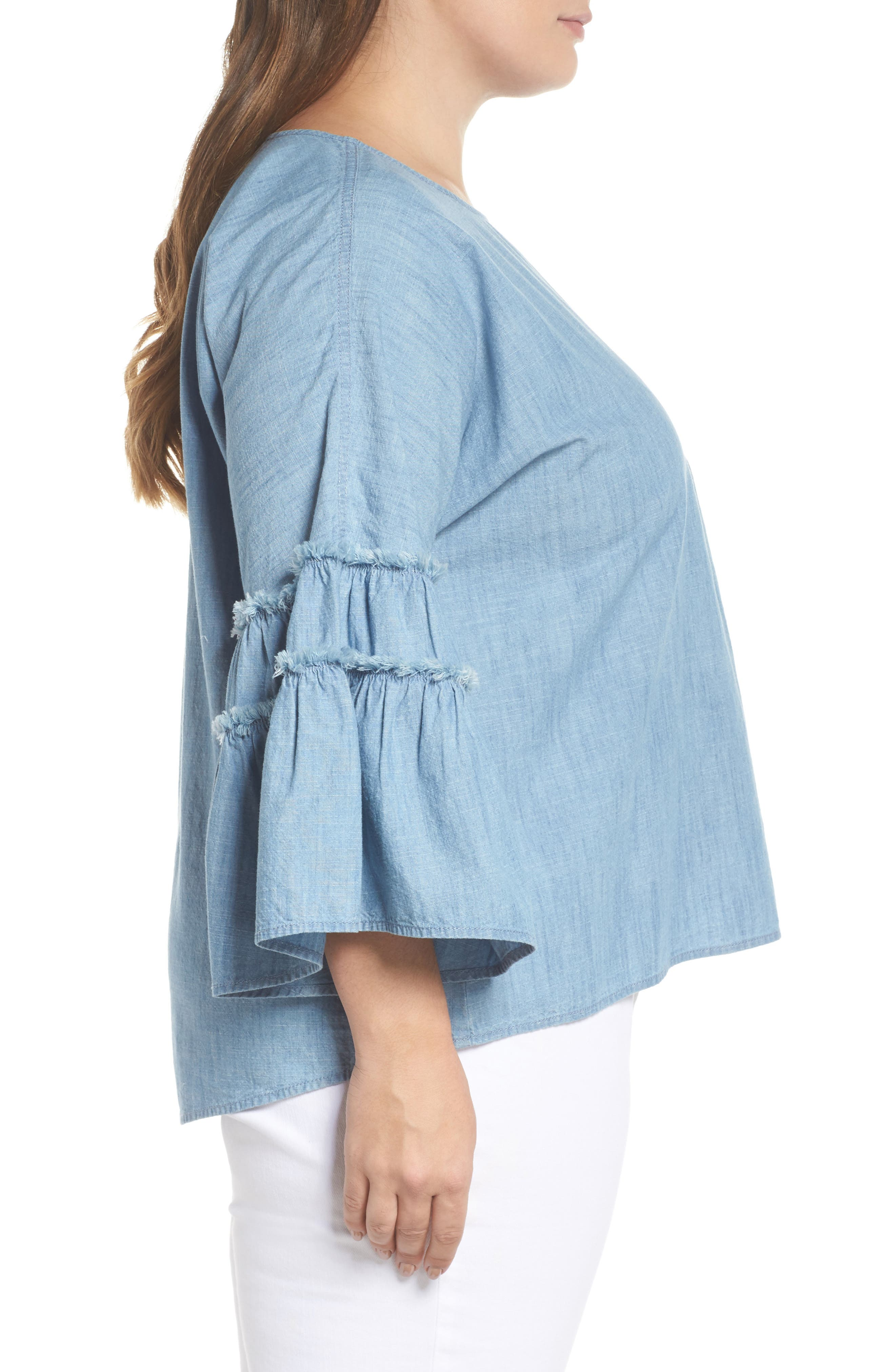 Ruffle Sleeve Chambray Blouse,                             Alternate thumbnail 3, color,                             ICE LAGOON