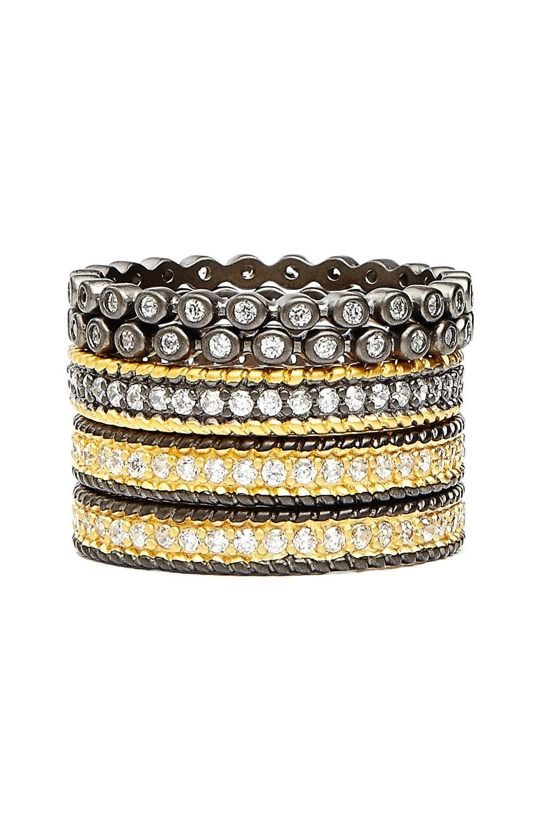 'The Standards' Stackable Rings,                         Main,                         color, GUNMETAL/ GOLD