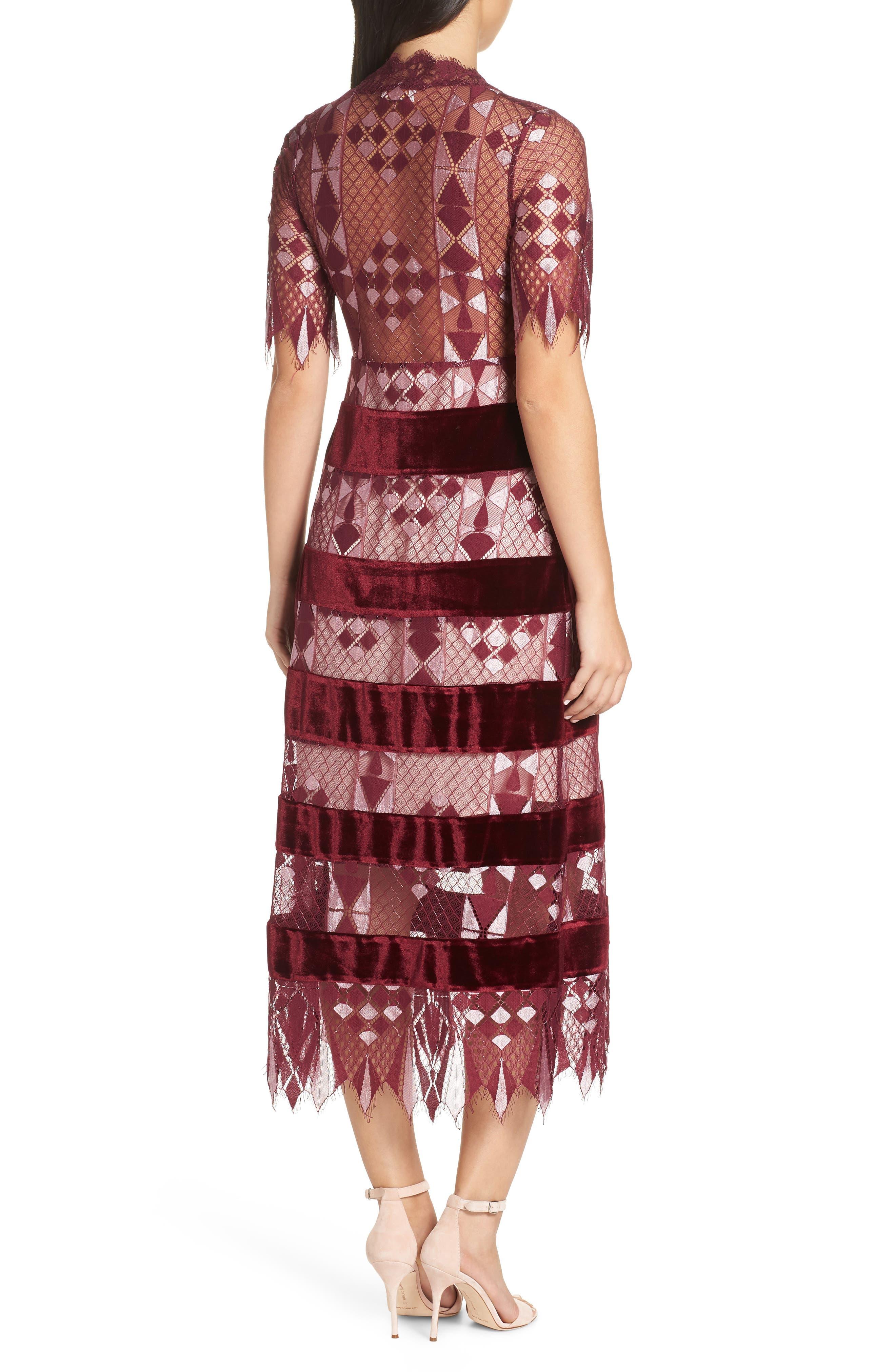 Aria Zulu Lace & Velvet Midi Dress,                             Alternate thumbnail 2, color,                             BURGUNDY