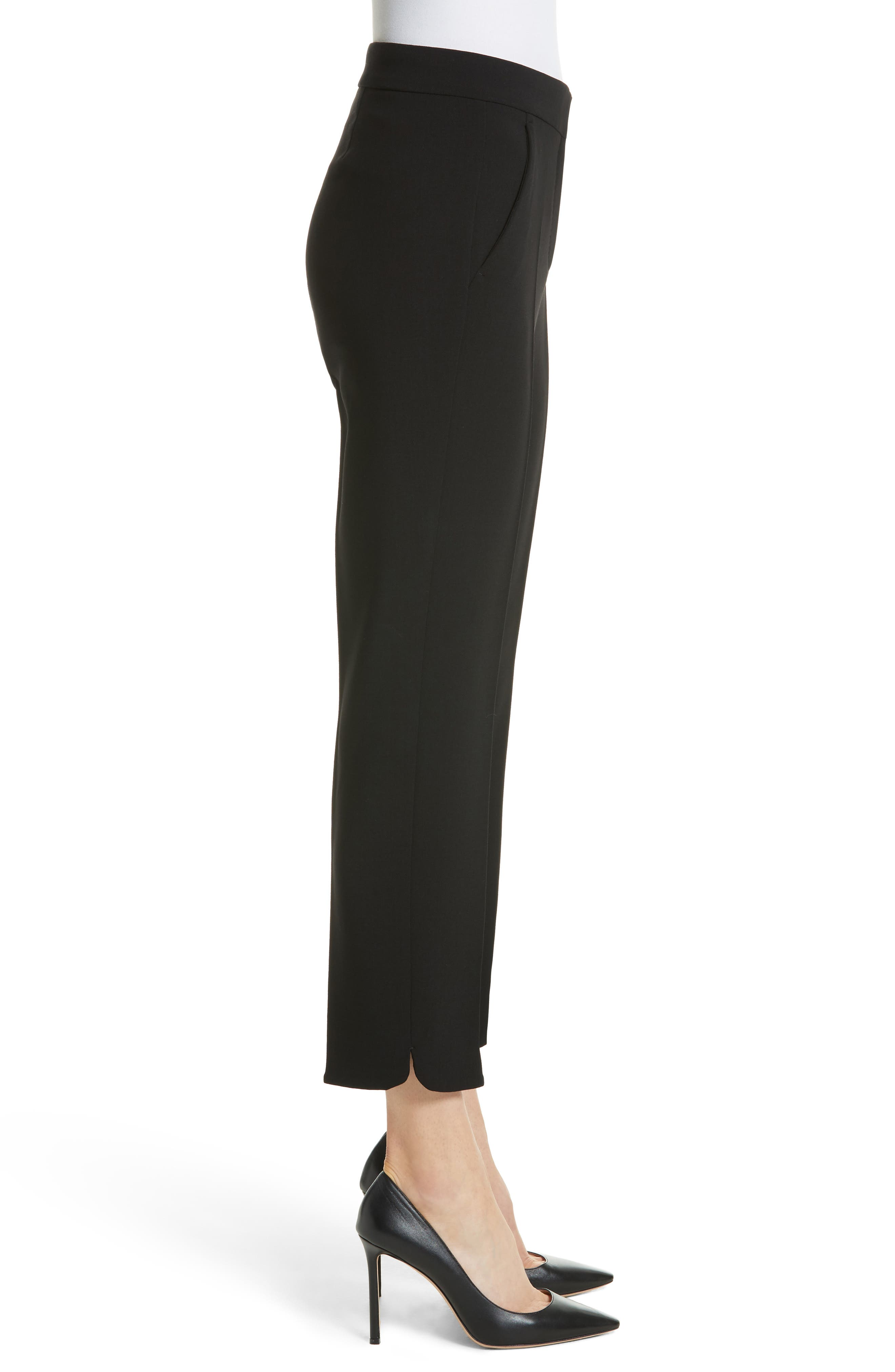 Cagli Stretch Wool Crop Pants,                             Alternate thumbnail 3, color,                             001
