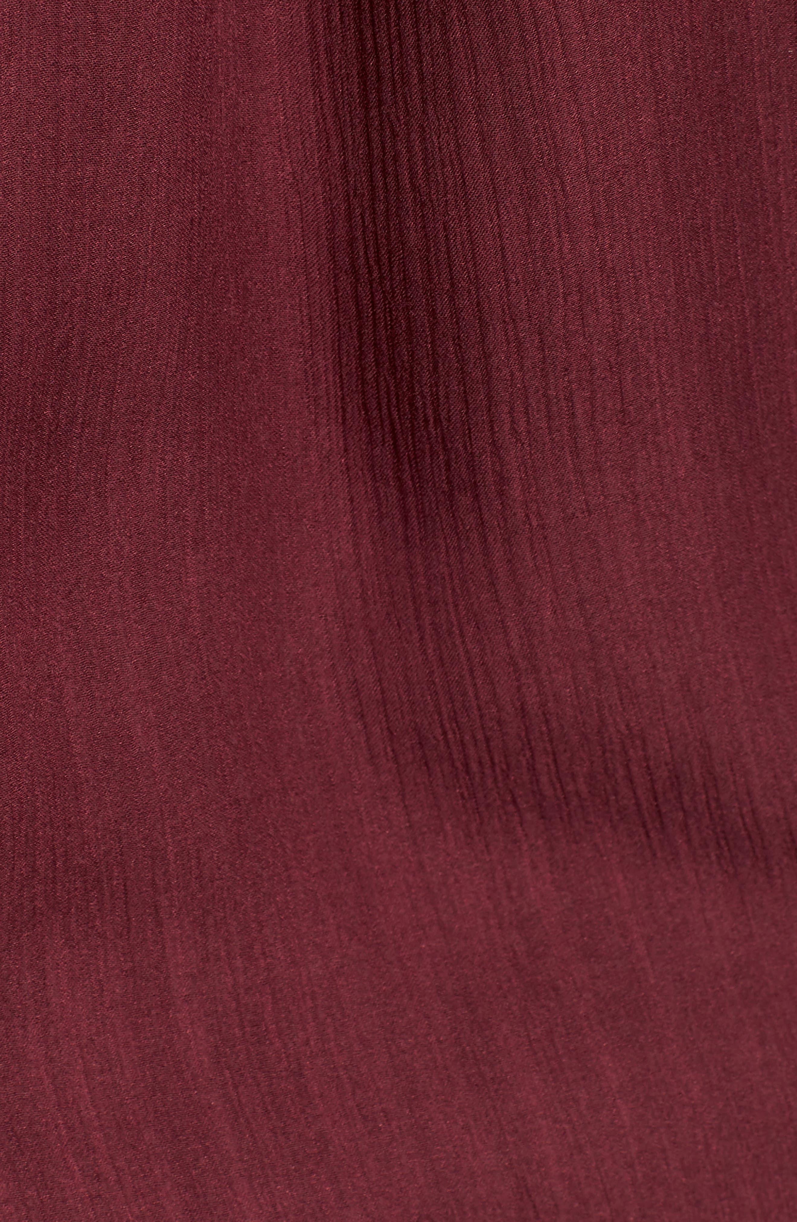 Flutter Sleeve Silk Top,                             Alternate thumbnail 6, color,                             BURGUNDY FIG