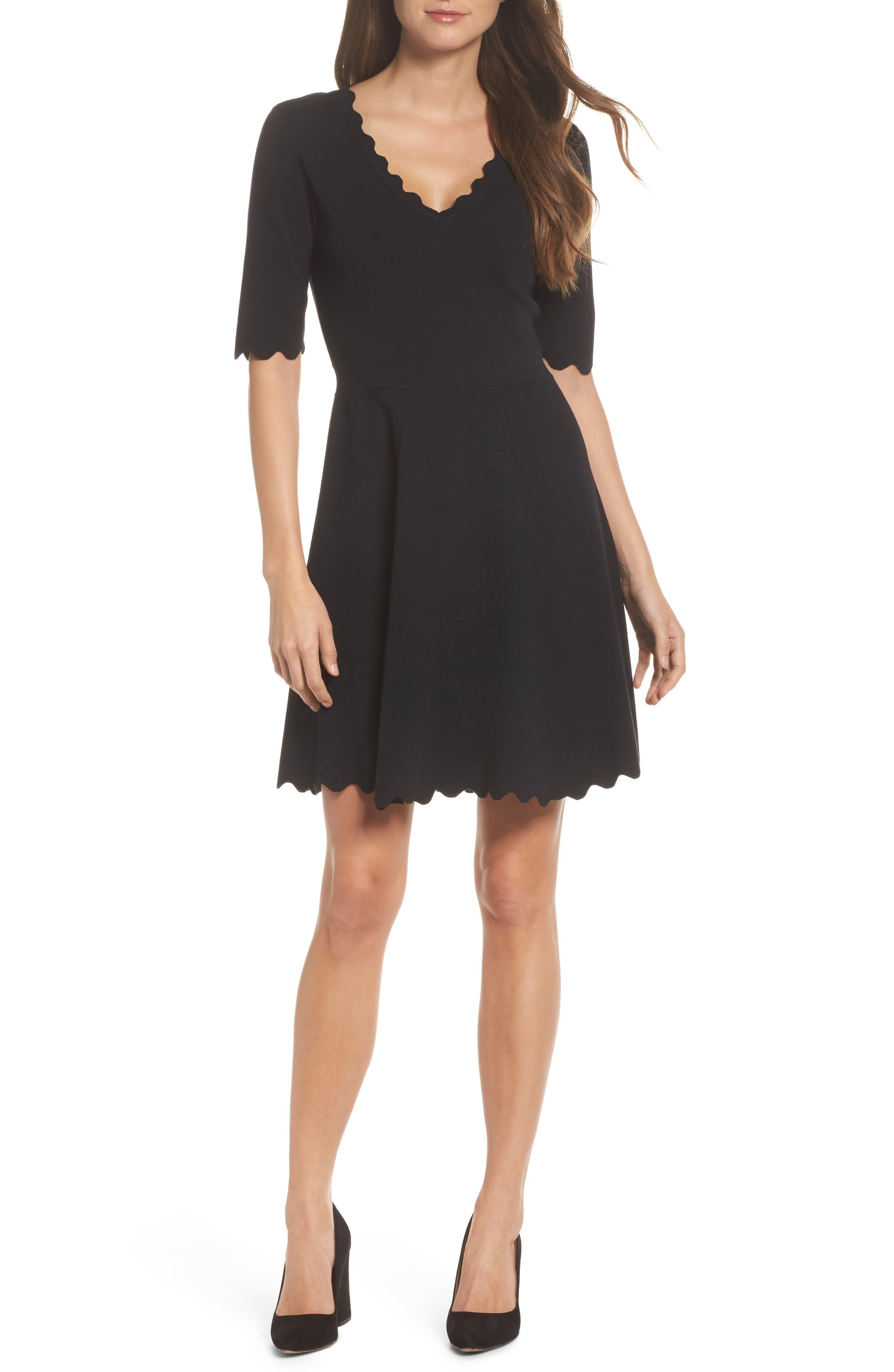 Scallop Trim Fit & Flare Dress,                             Main thumbnail 1, color,                             BLACK