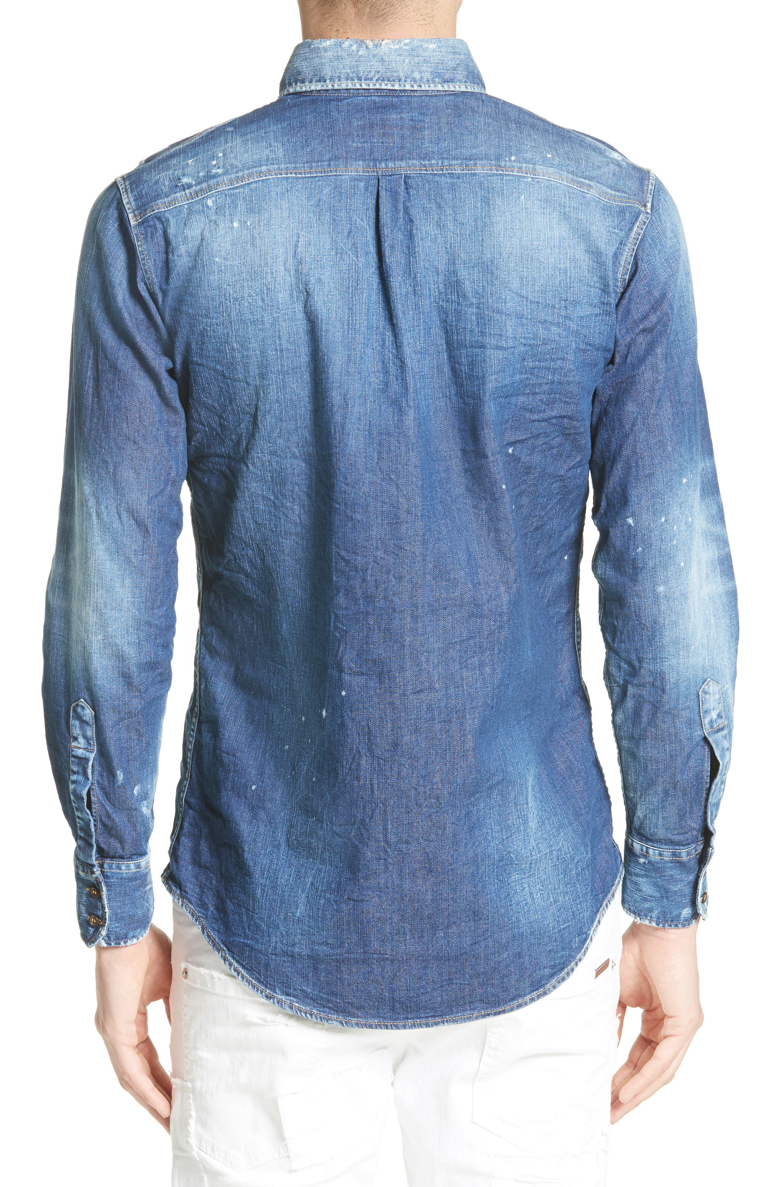 Extra Trim Fit Distressed Denim Sport Shirt,                             Alternate thumbnail 3, color,                             400