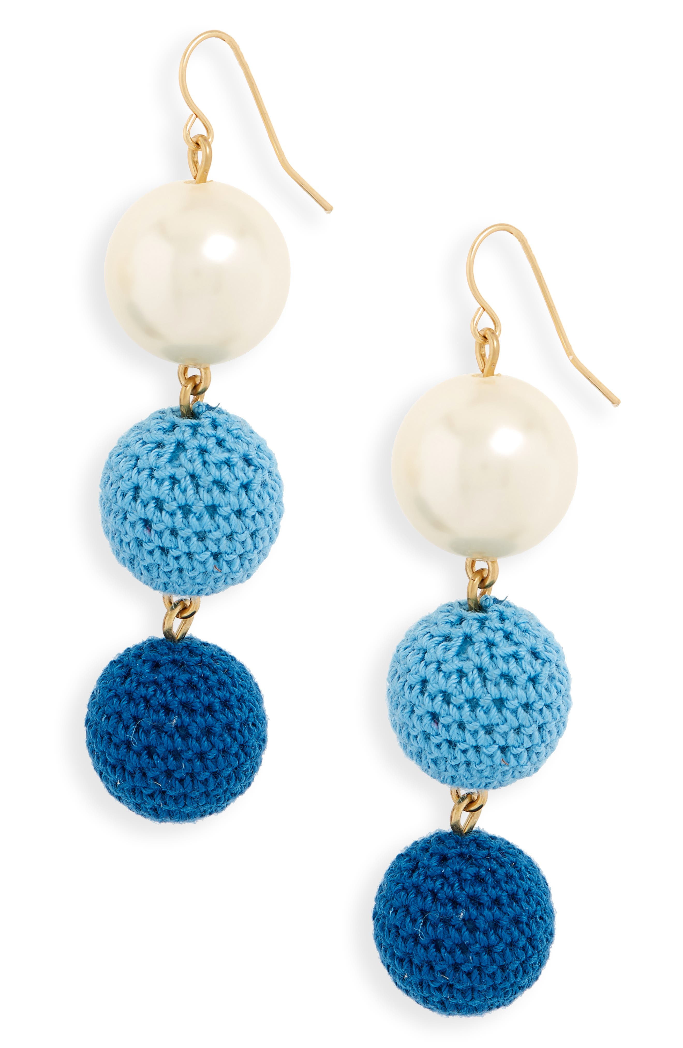 Crochet Ball and Imitation Pearl Drop Earrings,                         Main,                         color, 400
