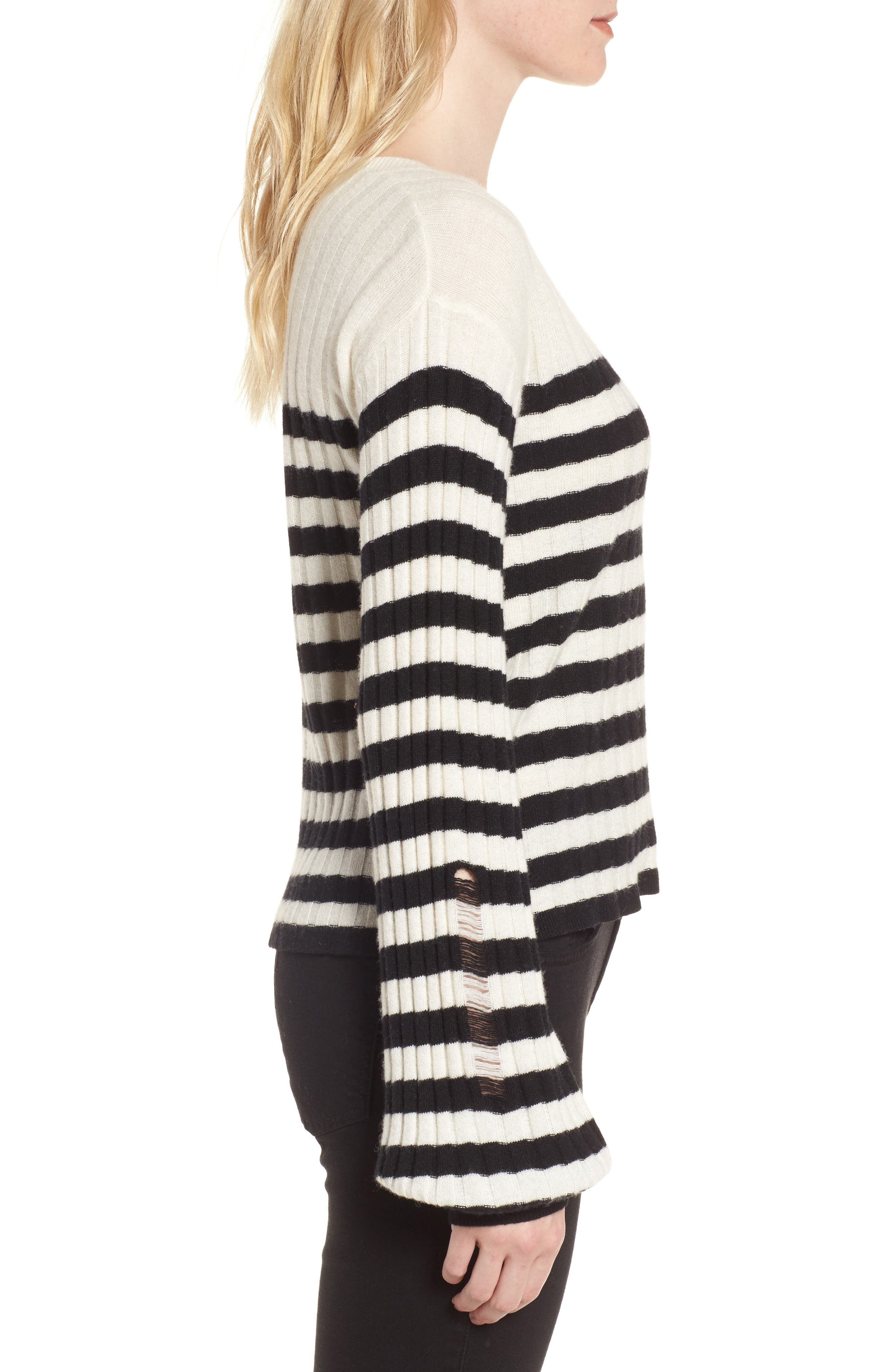 Destroyed Stripe Sweater,                             Alternate thumbnail 3, color,                             004