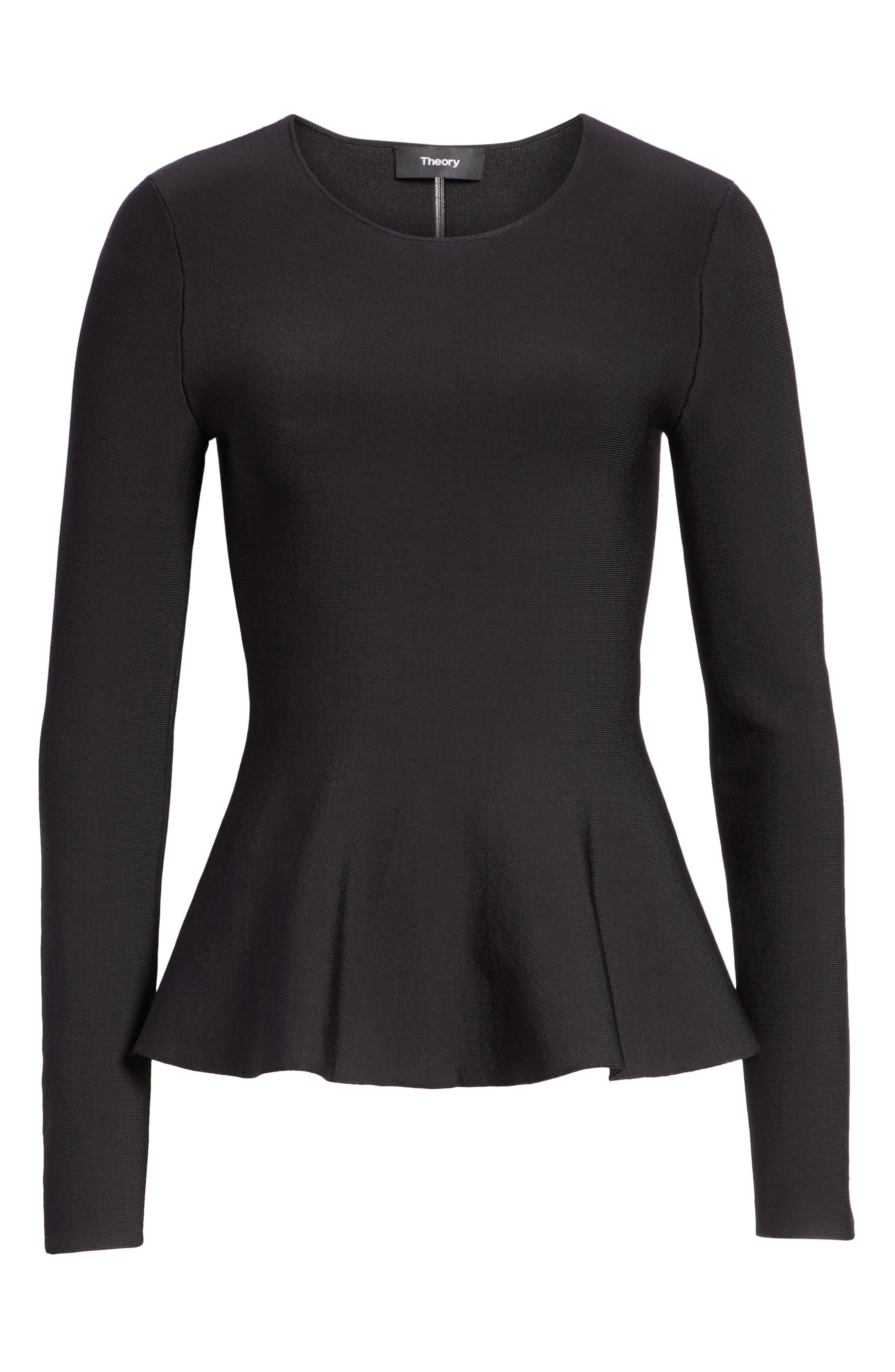 Glossed Peplum Sweater,                             Alternate thumbnail 6, color,                             BLACK