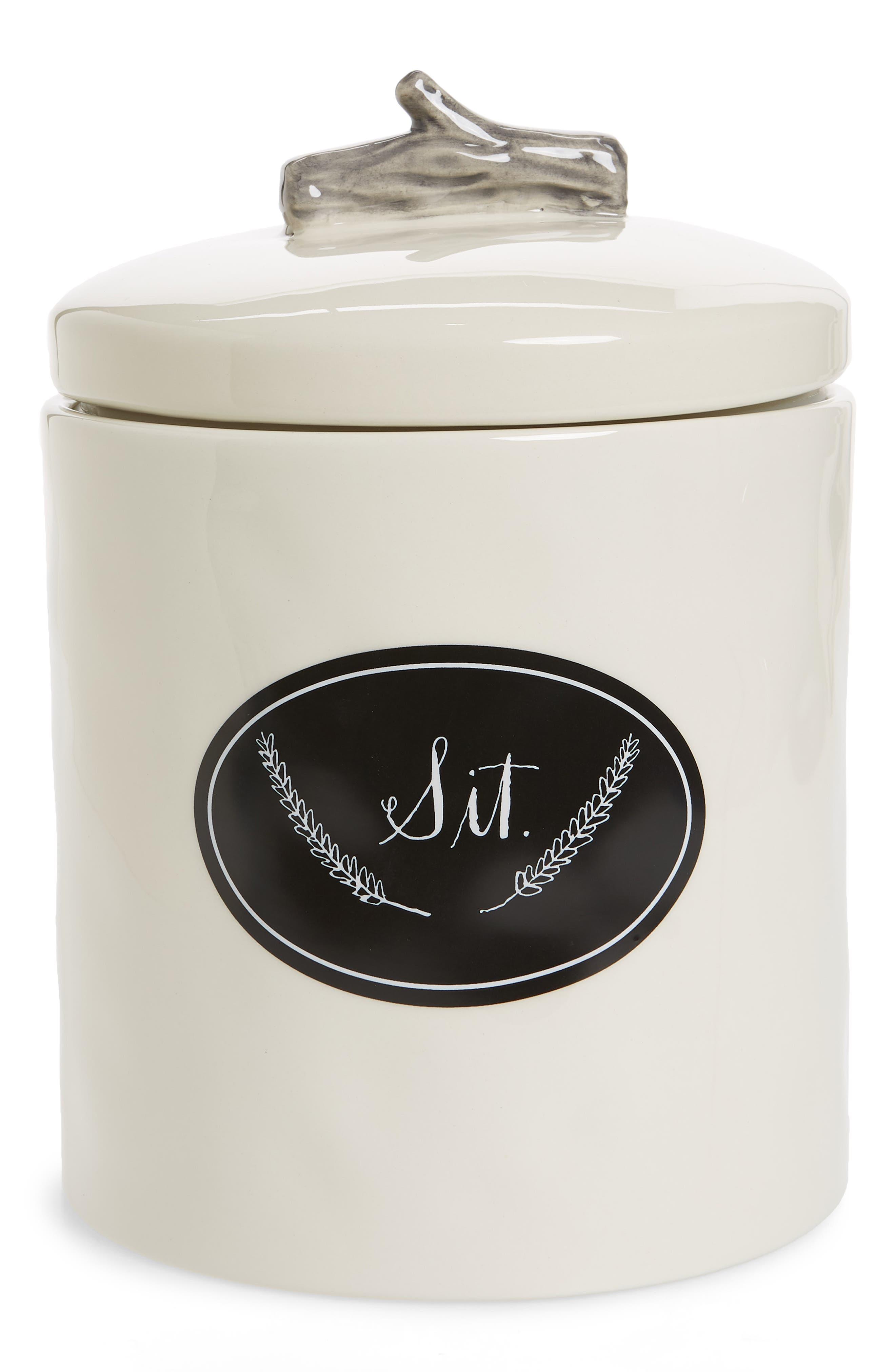 RAE DUNN Sit Dog Treat Jar, Main, color, 100