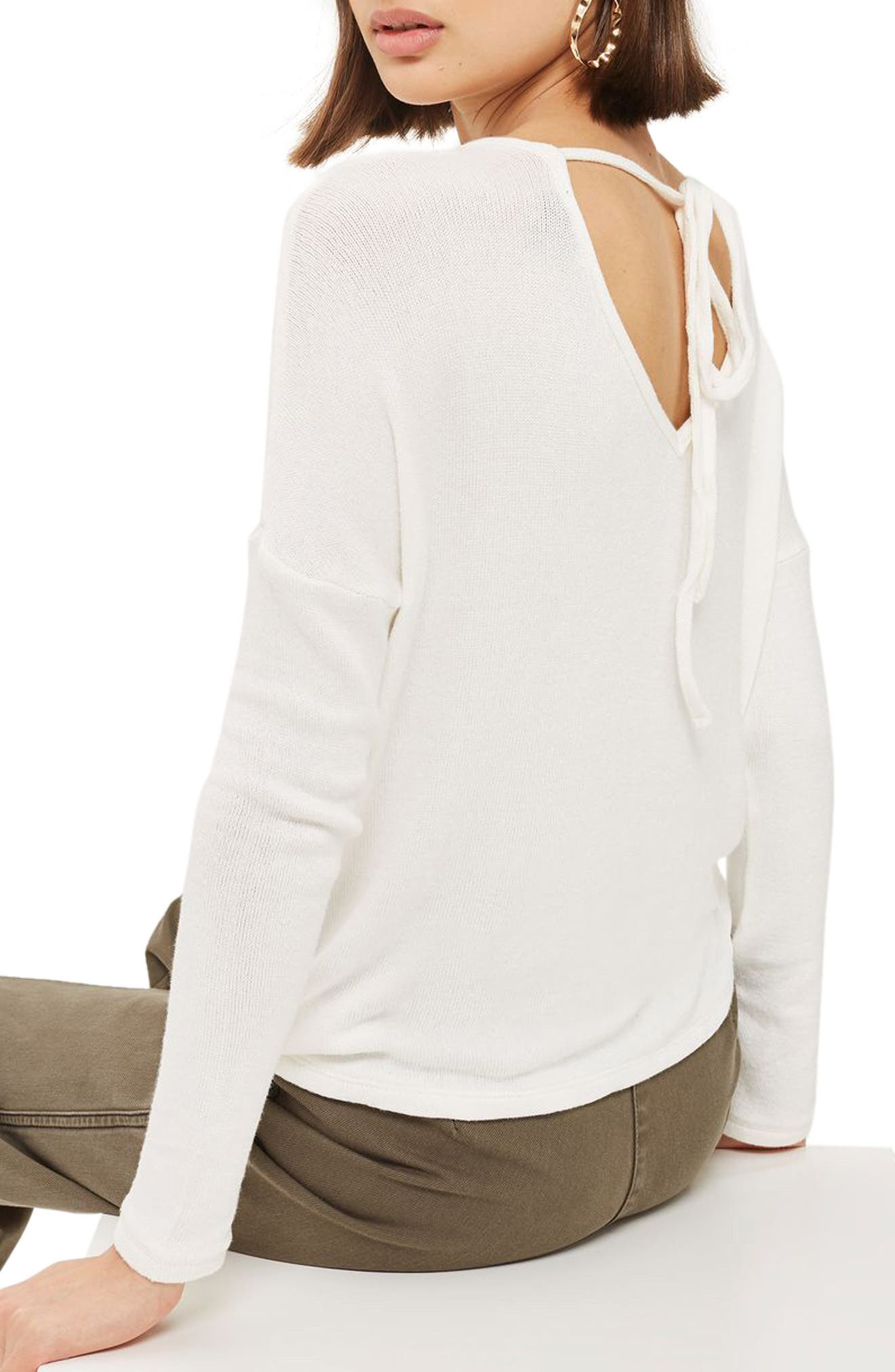 Drop Shoulder Tie Back Sweater,                             Alternate thumbnail 2, color,                             100