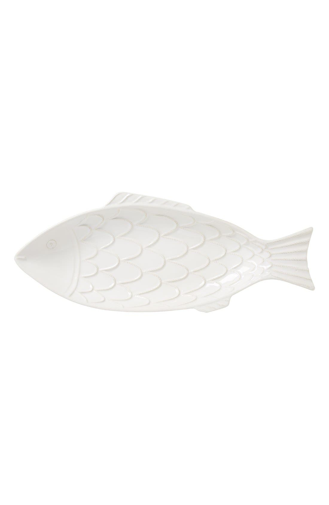 'Berry and Thread' Ceramic Fish Platter,                             Main thumbnail 1, color,                             WHITE