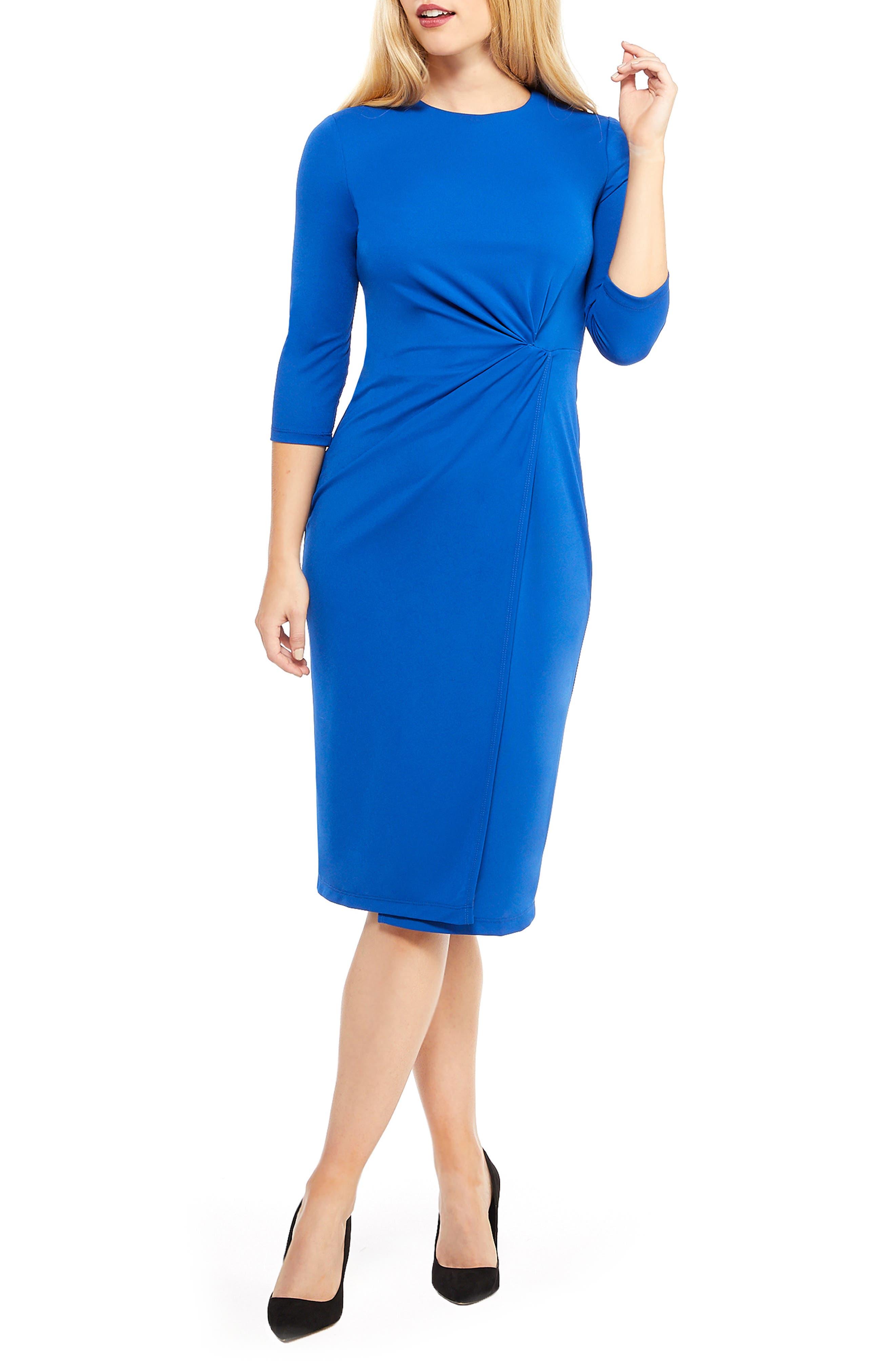 MAGGY LONDON Knot Detail Sheath Dress in Azure Blue