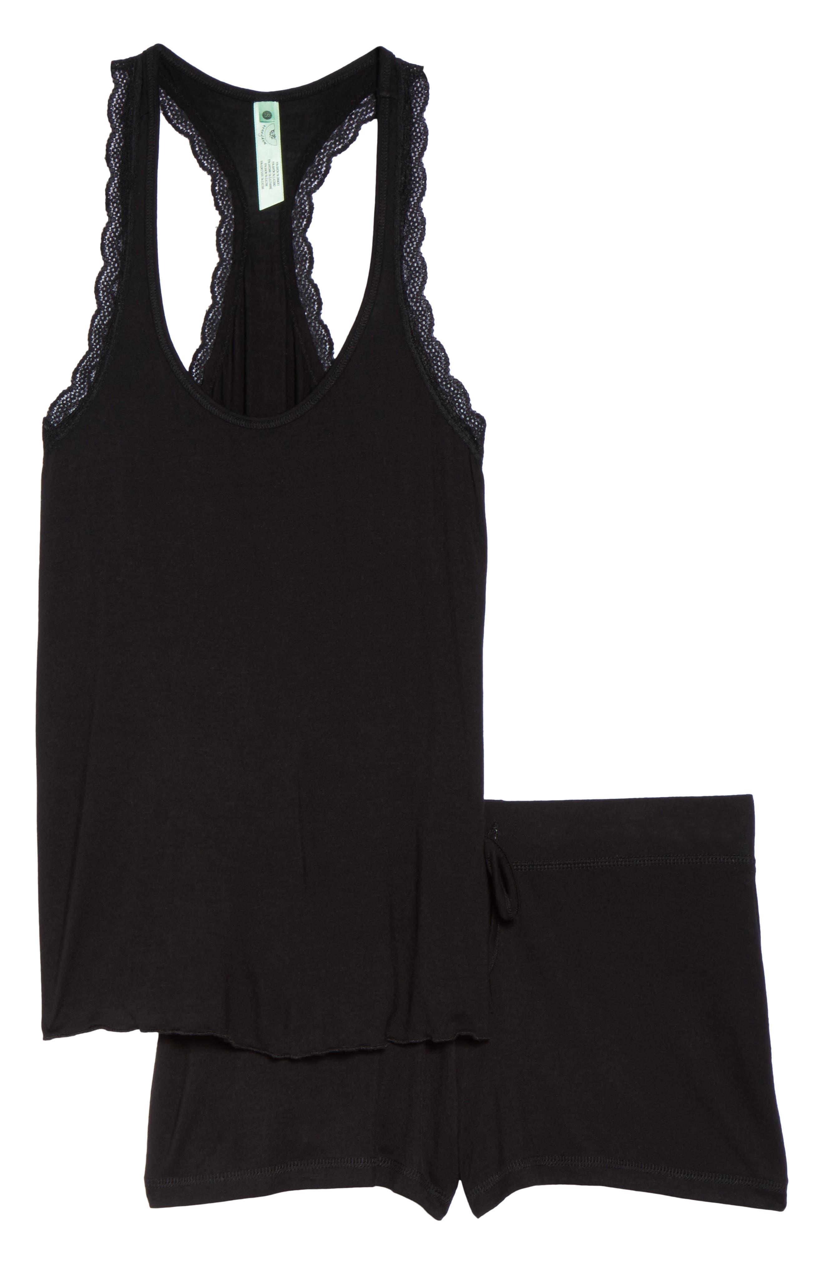 All American Lace Trim Short Pajamas,                             Alternate thumbnail 6, color,                             BLACK