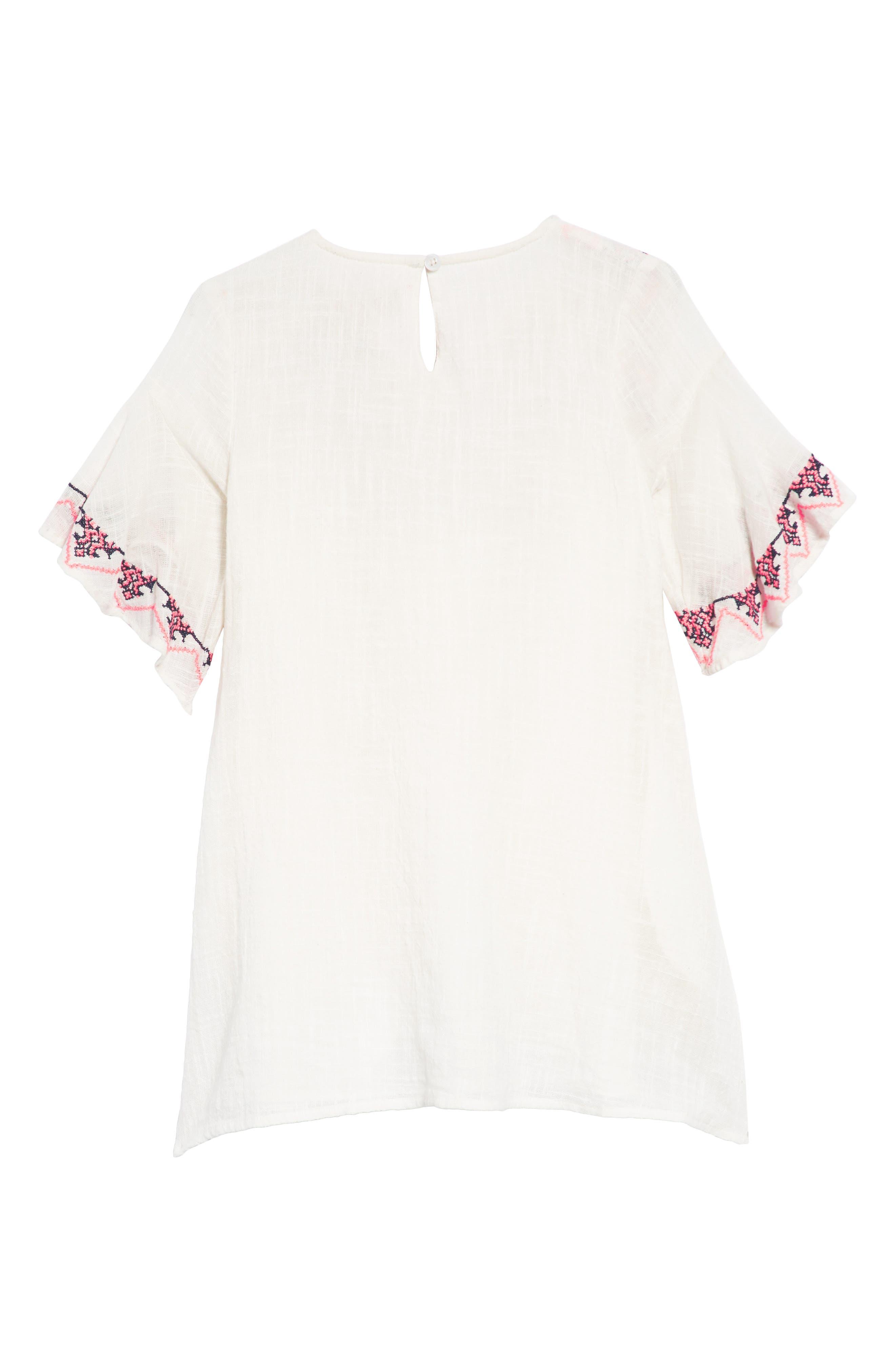 Ava Embroidered Shift Dress,                             Alternate thumbnail 2, color,                             100