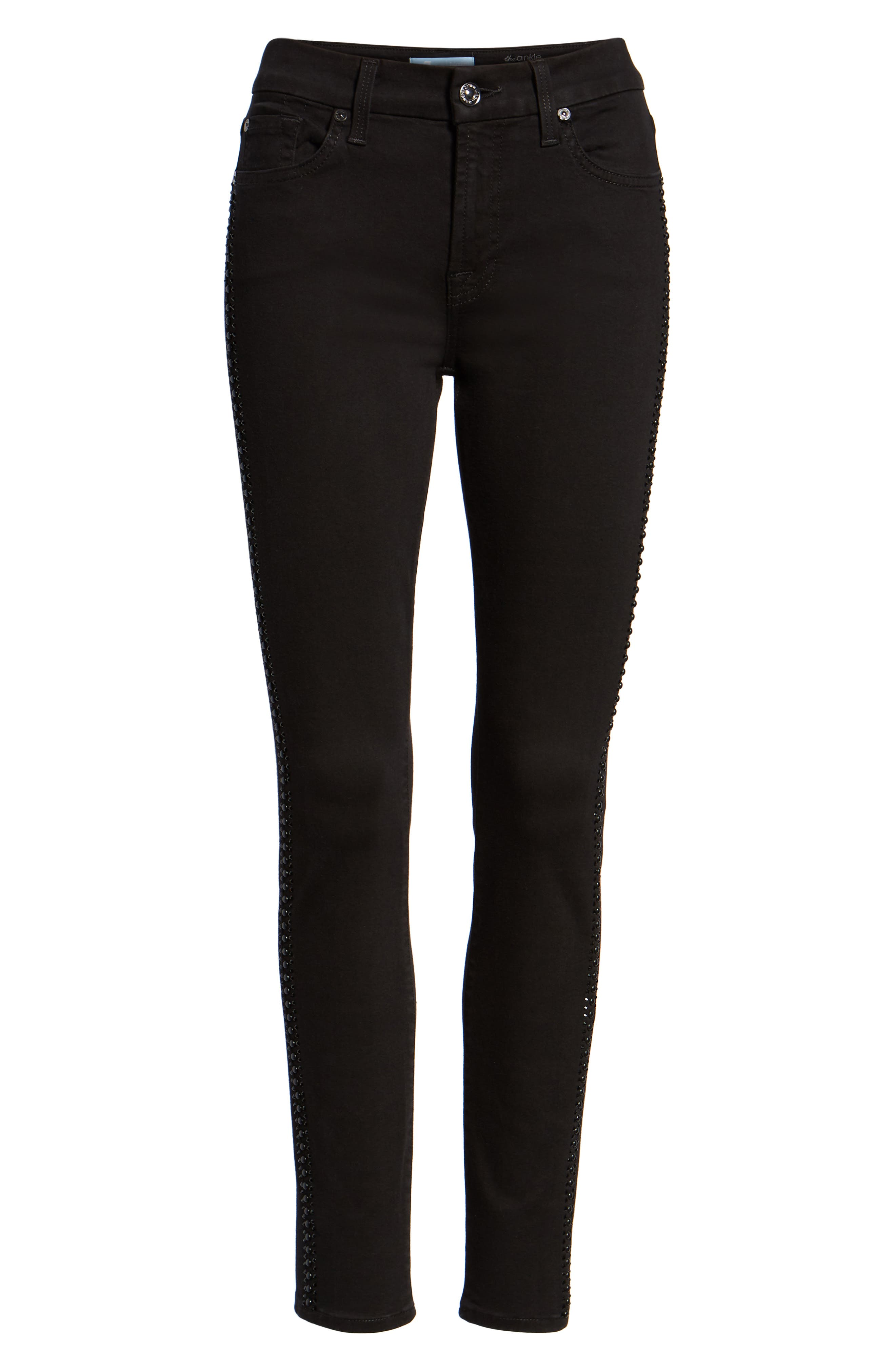 b(air) Coated Ankle Skinny Jeans,                             Alternate thumbnail 7, color,                             BLACK W/ CRYSTALS