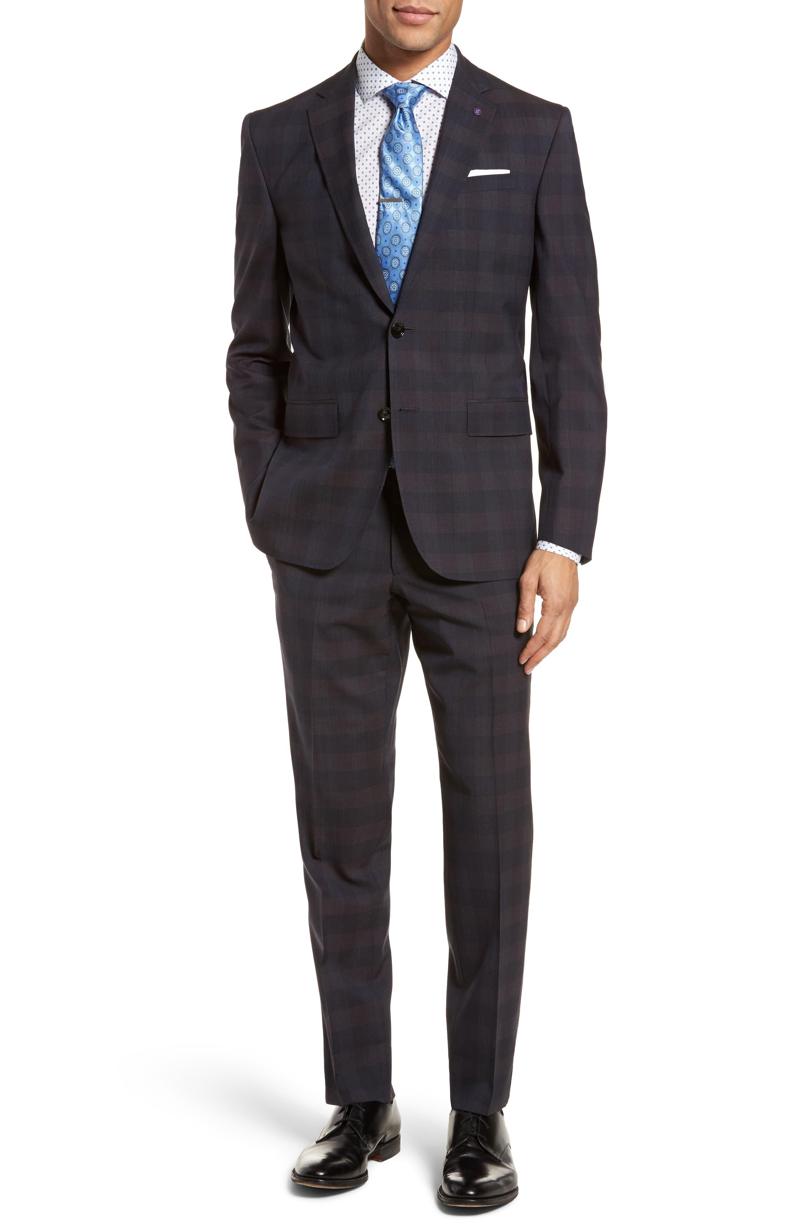 Jay Trim Fit Plaid Wool Suit,                         Main,                         color, 001