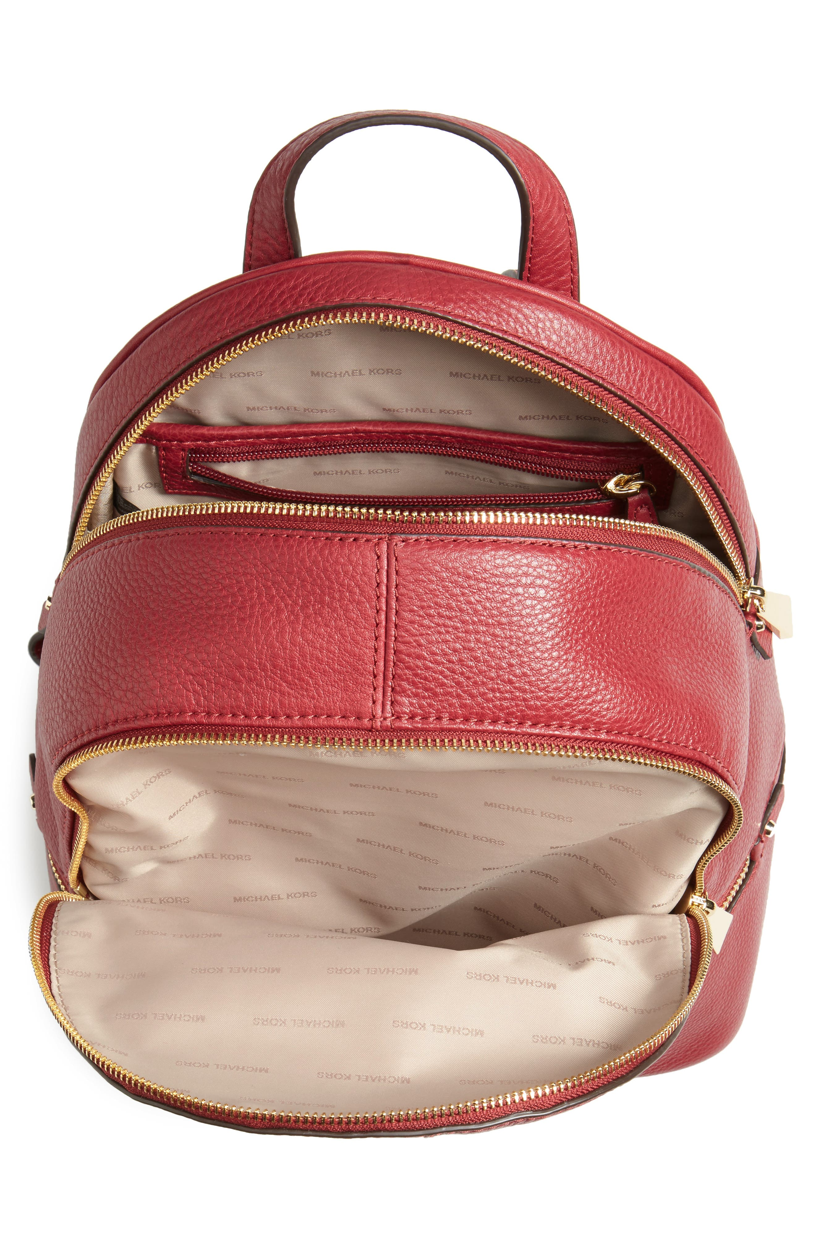 'Extra Small Rhea Zip' Leather Backpack,                             Alternate thumbnail 4, color,                             646