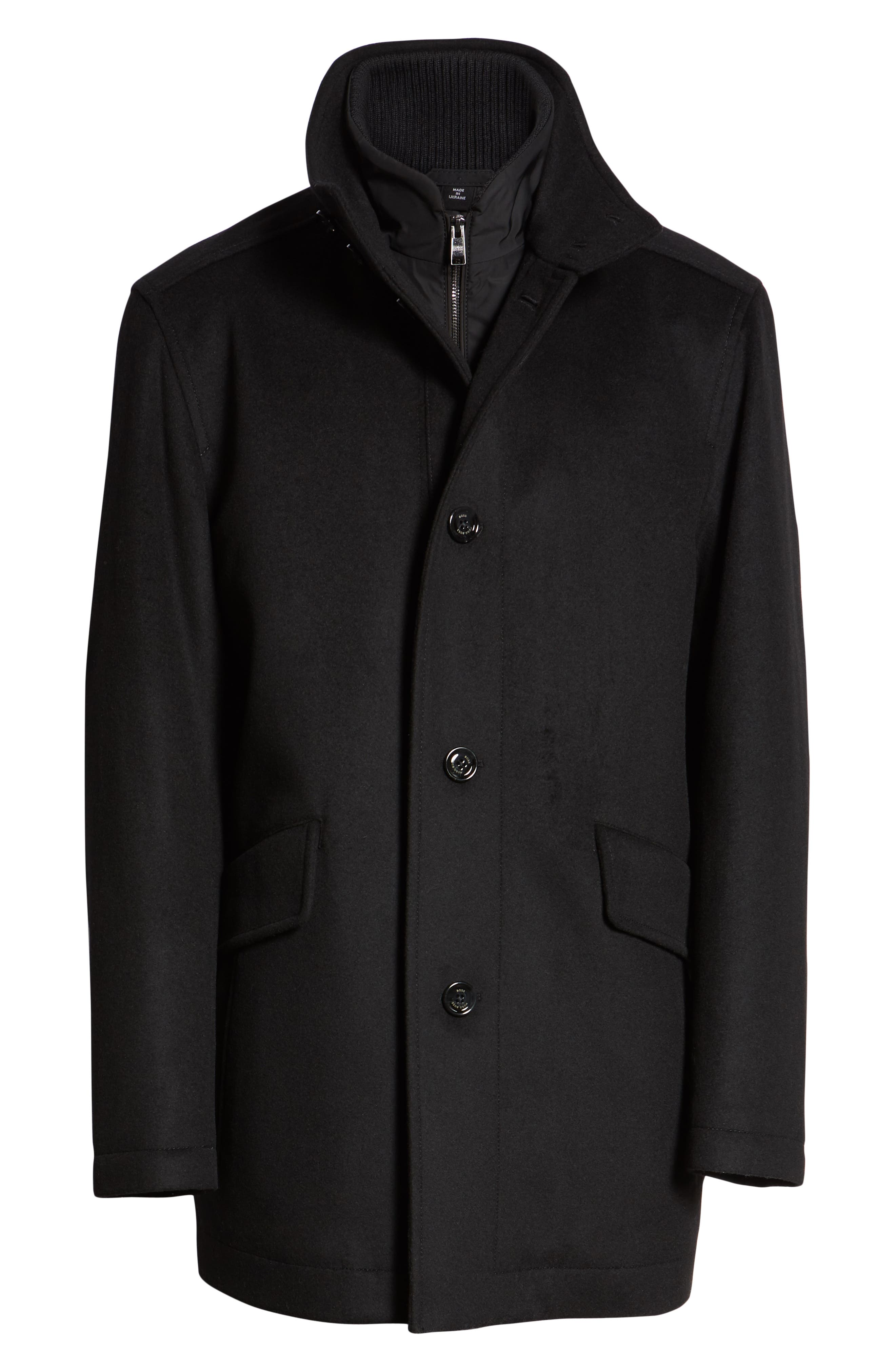 Coxtan Wool Regular Fit Car Coat,                             Alternate thumbnail 6, color,                             BLACK