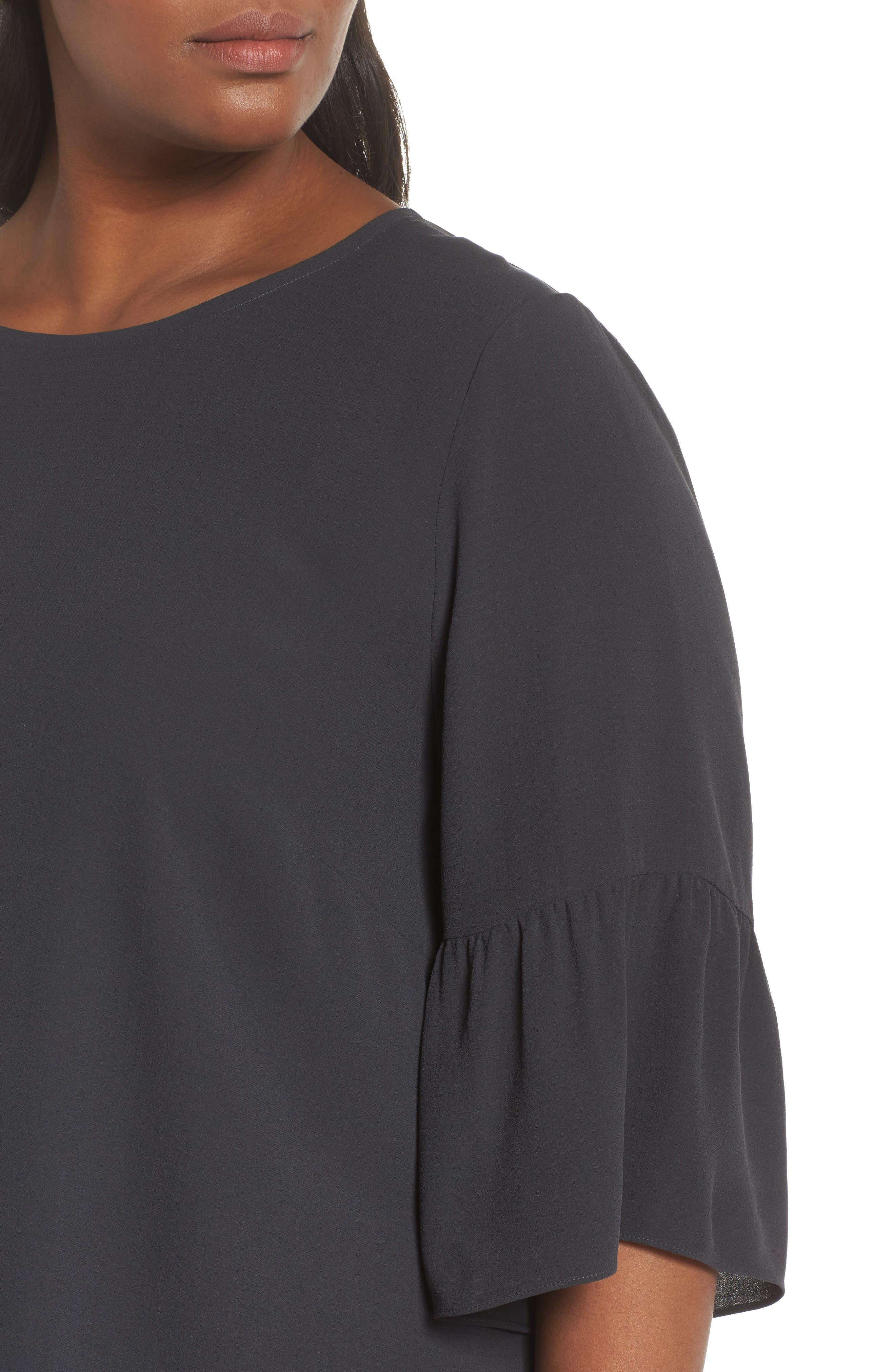 Ruffled Sleeve Silk Top,                             Alternate thumbnail 4, color,                             025