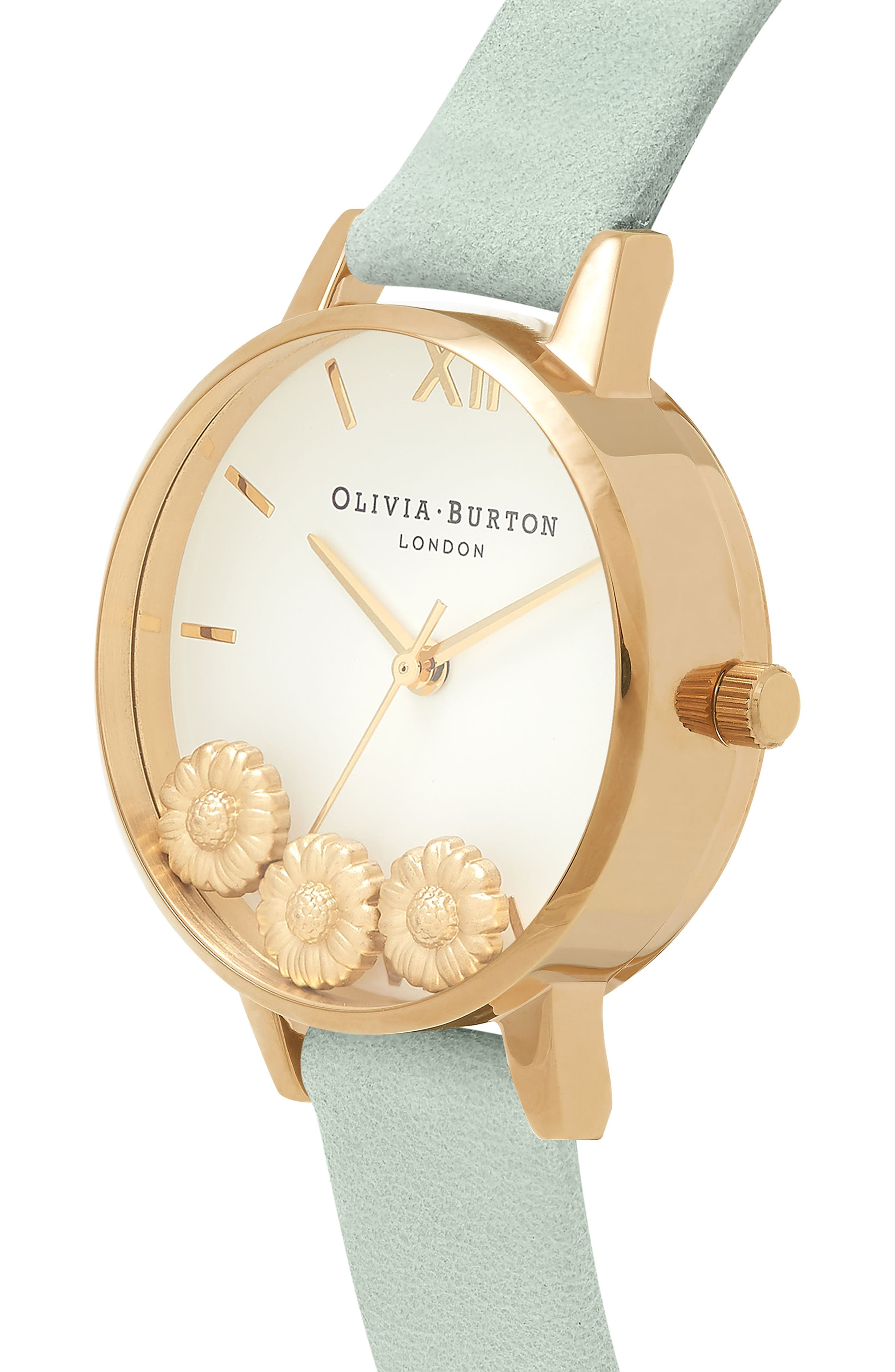 Dancing Daisy Leather Strap Watch, 30mm,                             Alternate thumbnail 3, color,                             SAGE/ WHITE/ GOLD