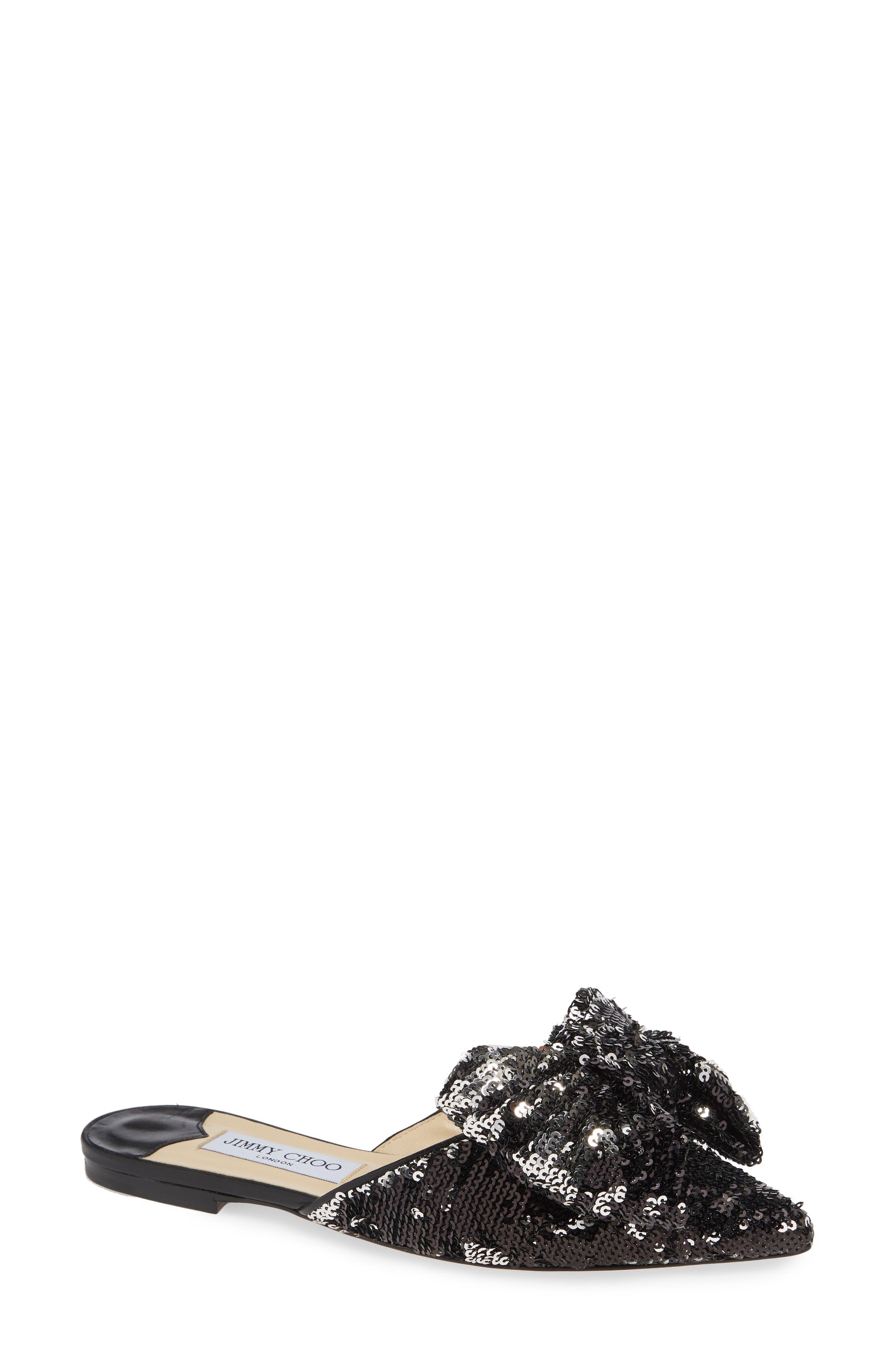Georgia Sequin Bow Mule, Main, color, BLACK/ SILVER
