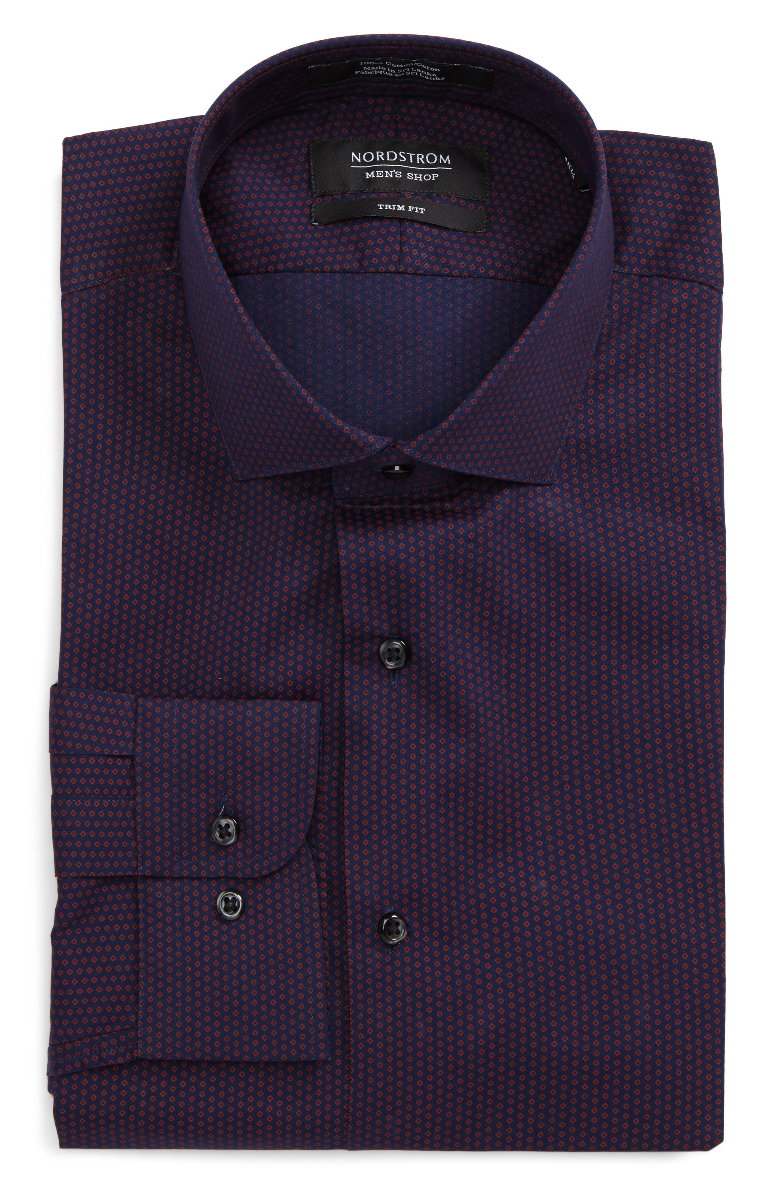 Trim Fit Print Dress Shirt,                             Main thumbnail 1, color,                             601
