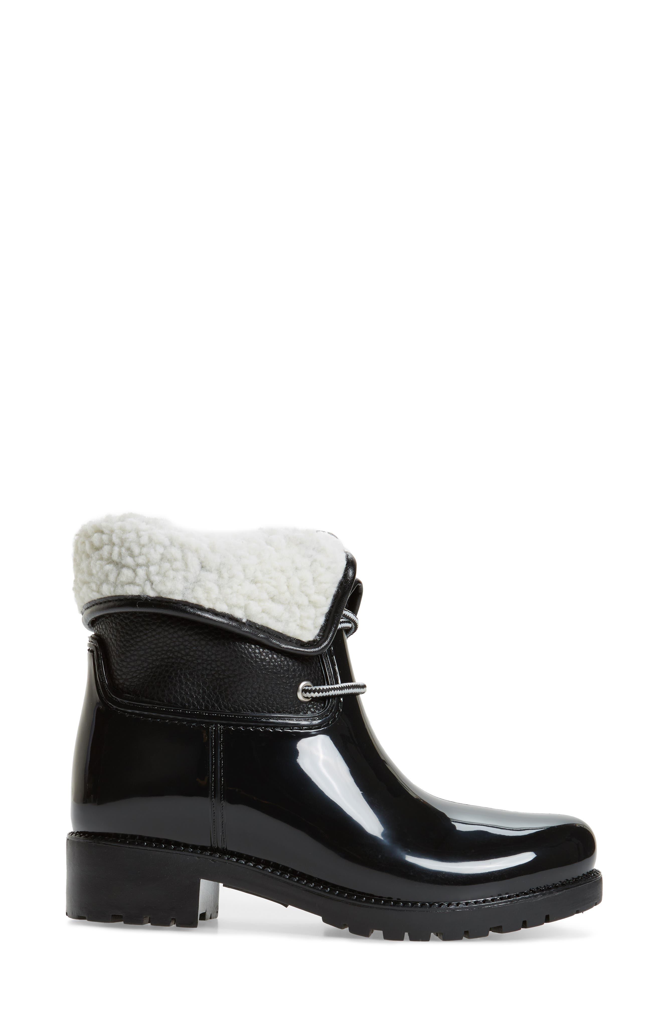 Calgary Faux Shearling Water Resistant Boot,                             Alternate thumbnail 3, color,                             BLACK