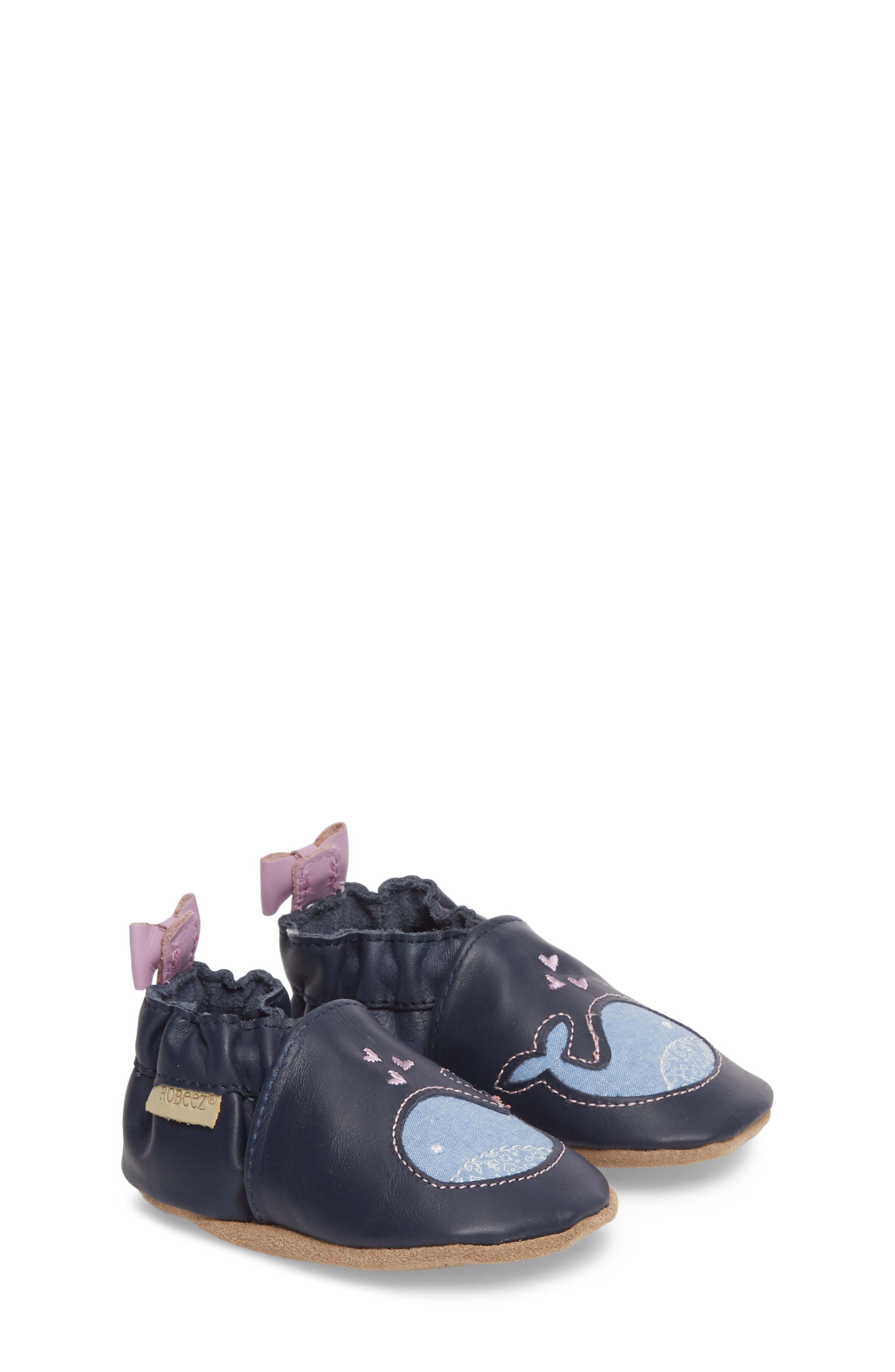 Poppy Whale Crib Shoe,                             Main thumbnail 1, color,                             NAVY