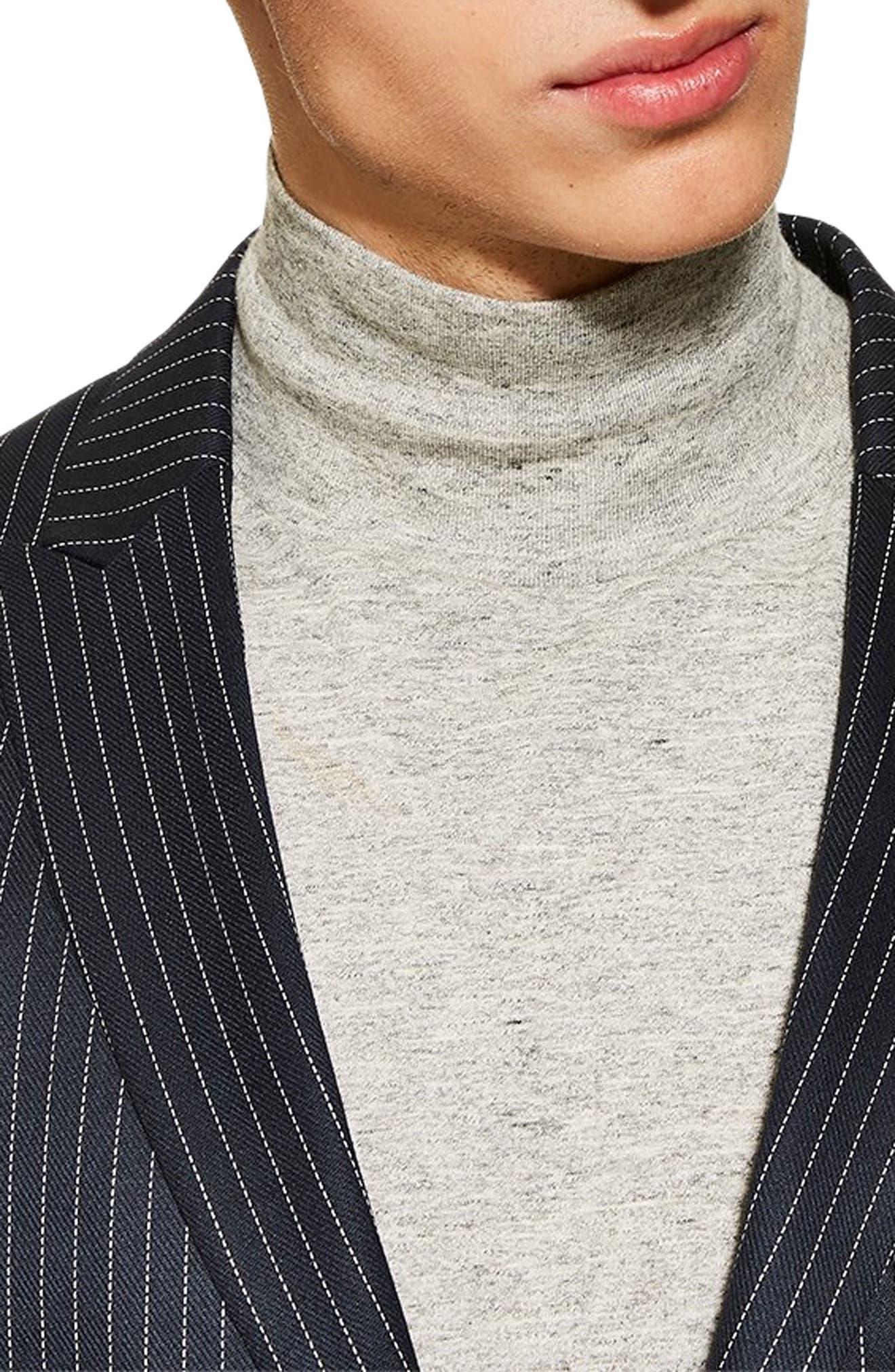 Tailored Pinstripe Suit Jacket,                             Alternate thumbnail 3, color,                             NAVY BLUE