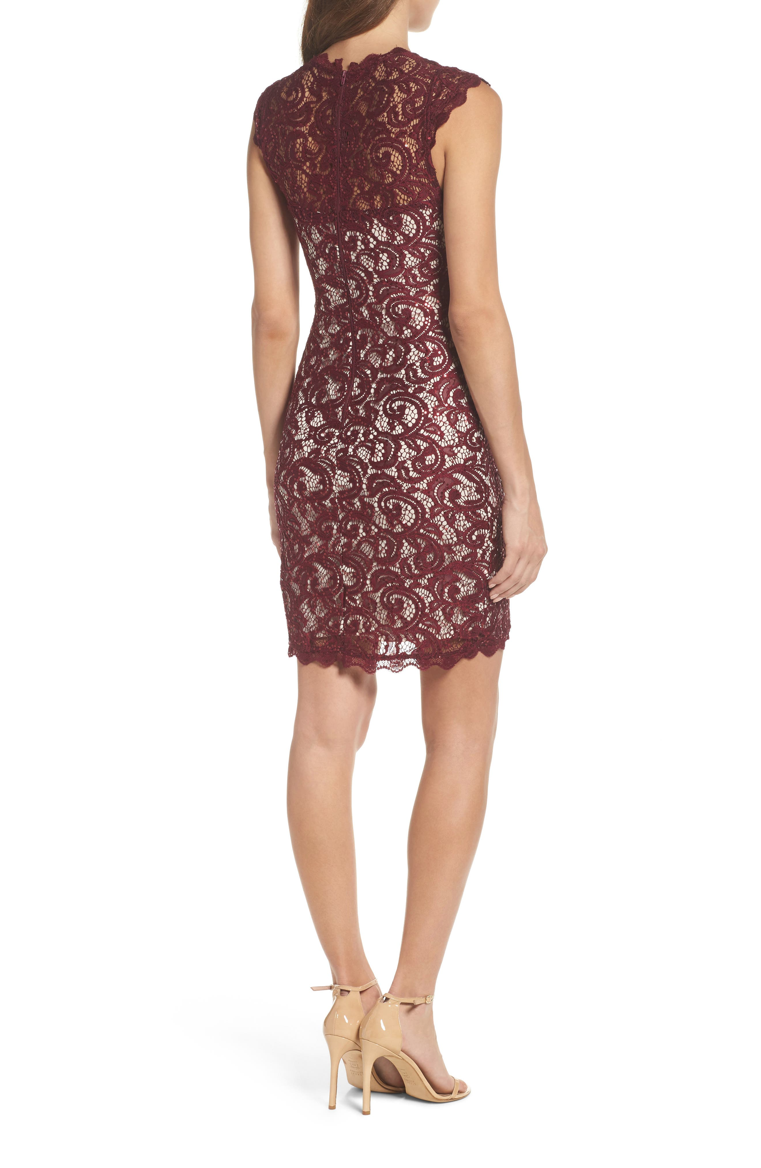 Sequin Lace Body-Con Dress,                             Alternate thumbnail 2, color,                             502