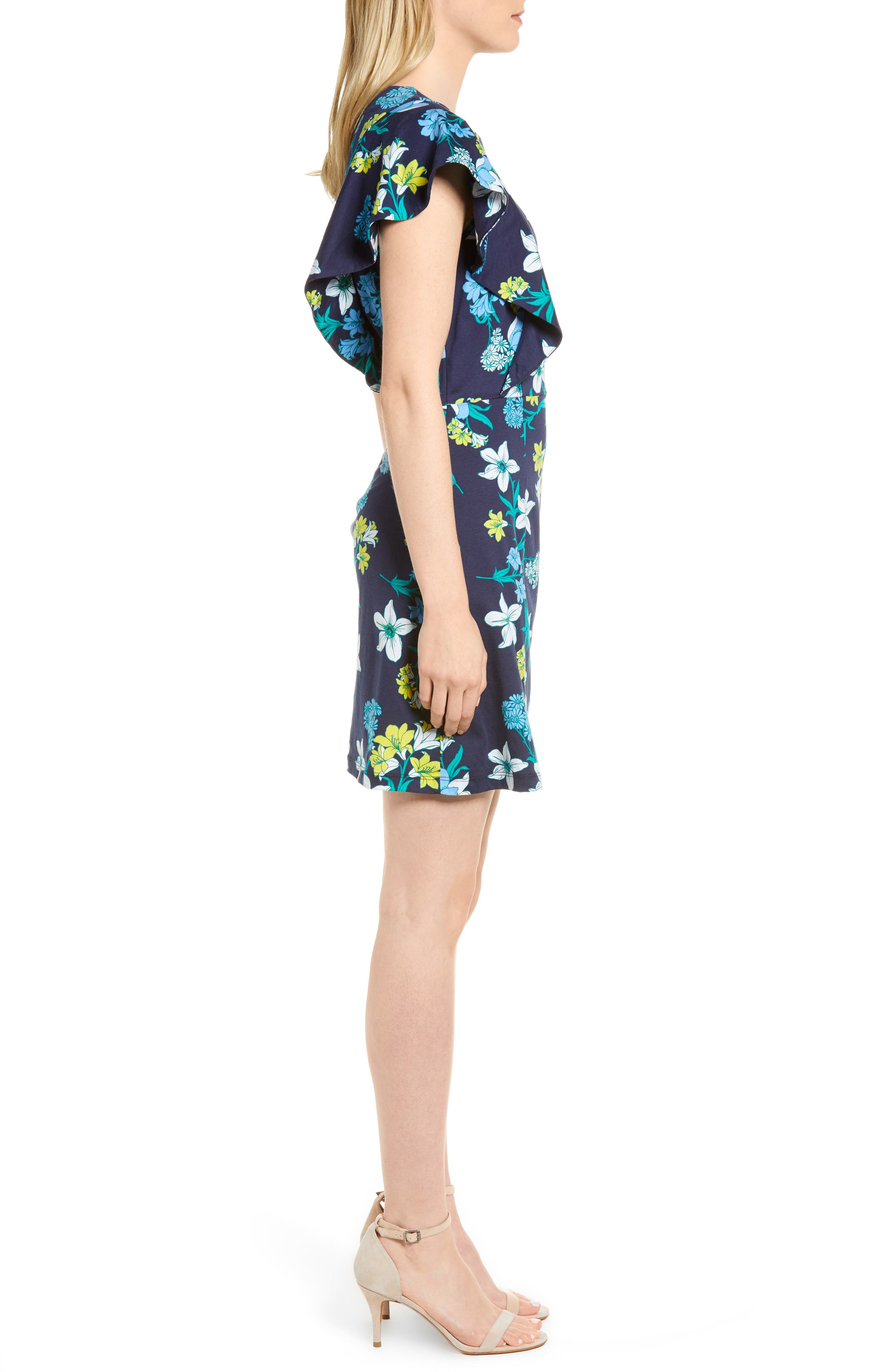 Floral Ruffle Cotton Dress,                             Alternate thumbnail 3, color,