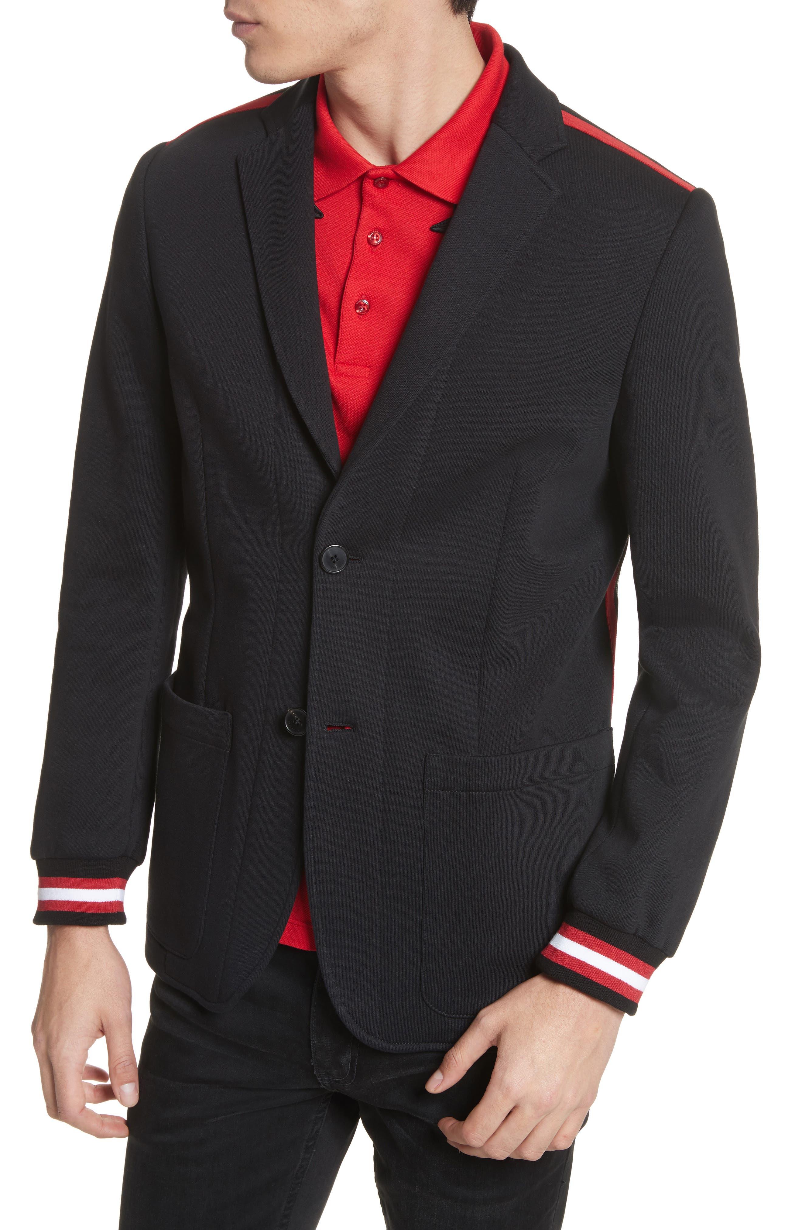 Stripe Trim Jersey Sport Coat,                             Alternate thumbnail 4, color,                             001