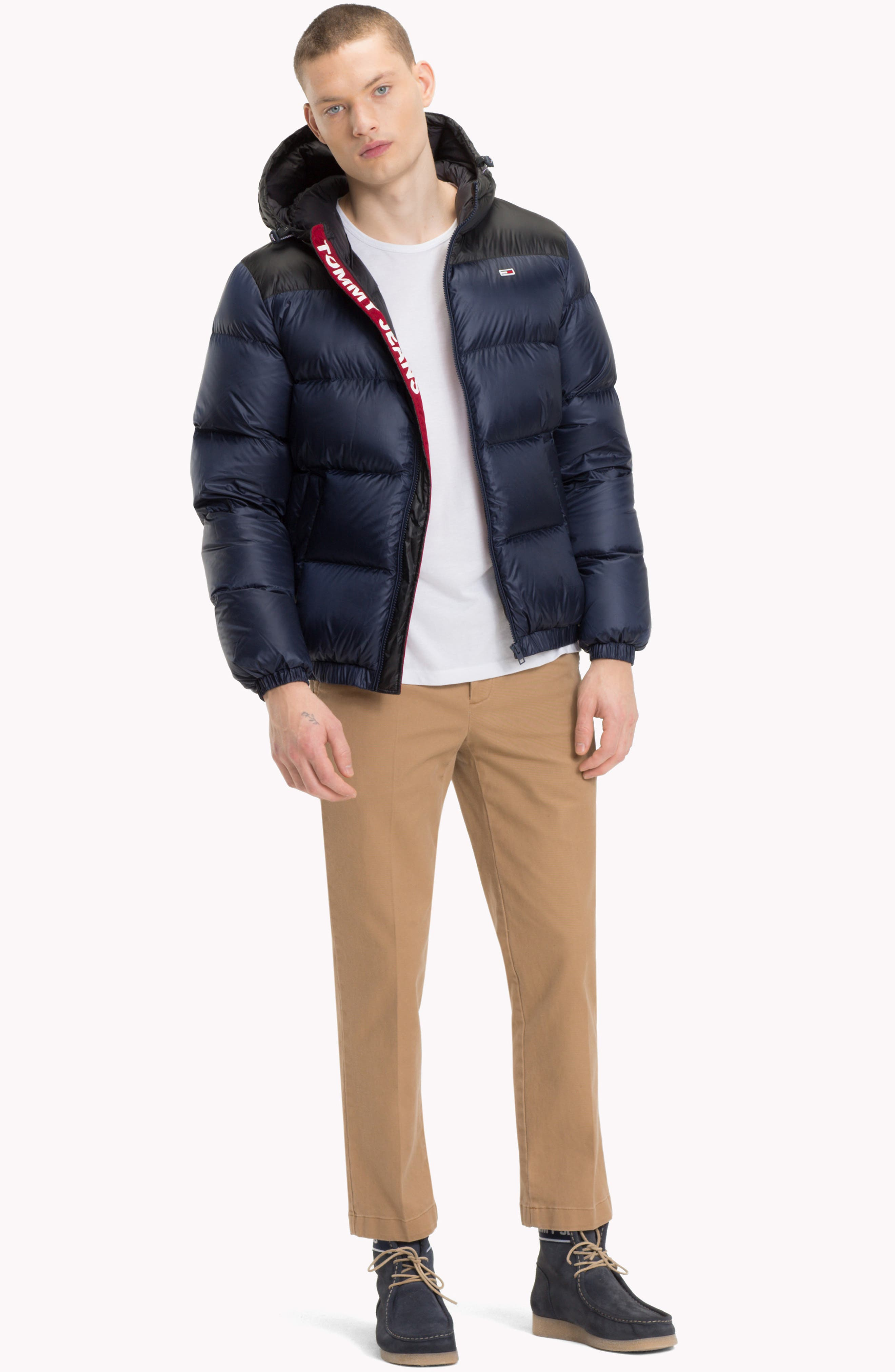 Classics Hooded Jacket,                             Alternate thumbnail 8, color,                             BLACK IRIS / TOMMY BLACK