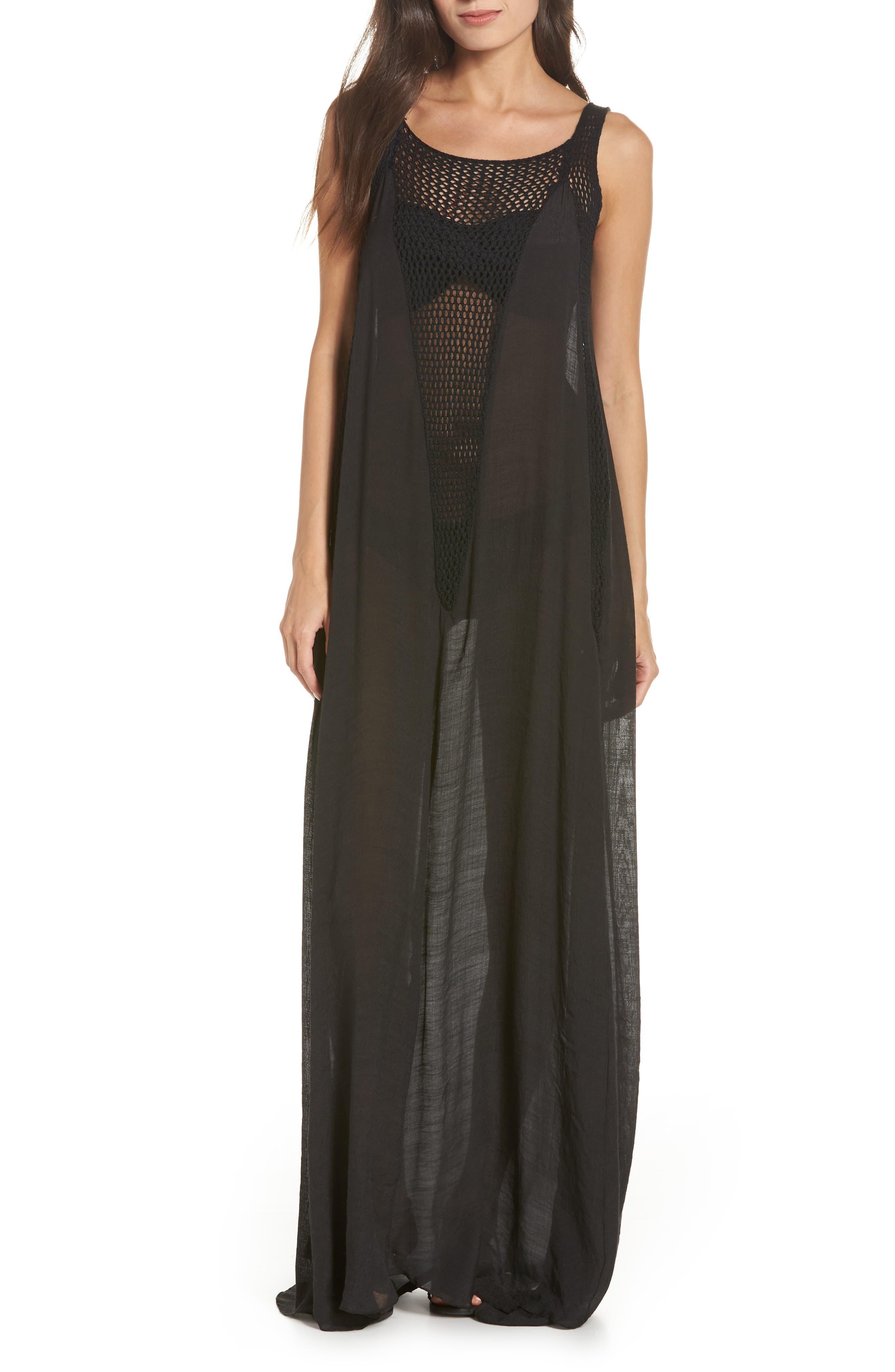 Elan Crochet Inset Cover-Up Maxi Dress, Black