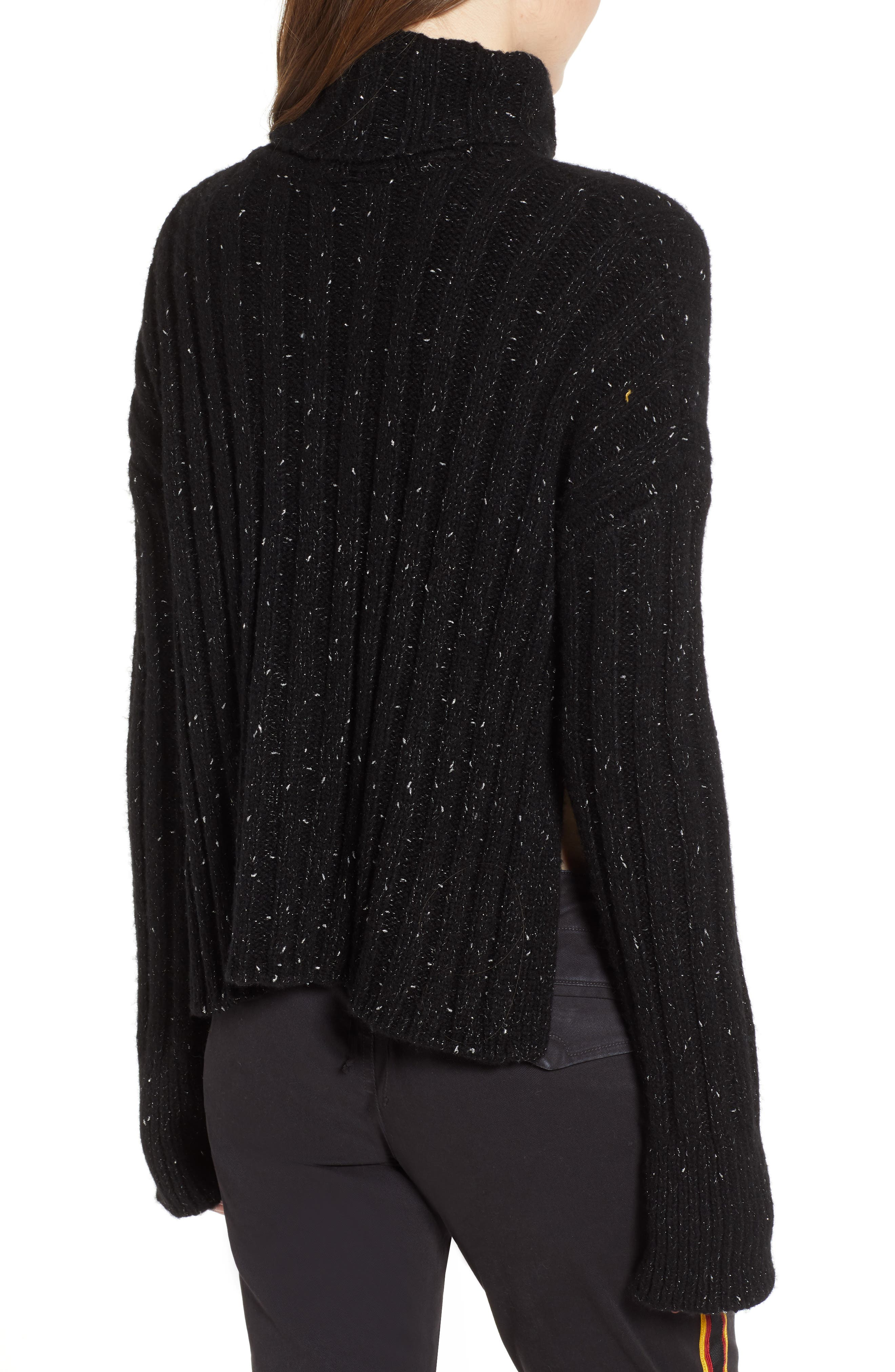 Side Slit Turtleneck Sweater,                             Alternate thumbnail 2, color,                             BLACK MIRROR