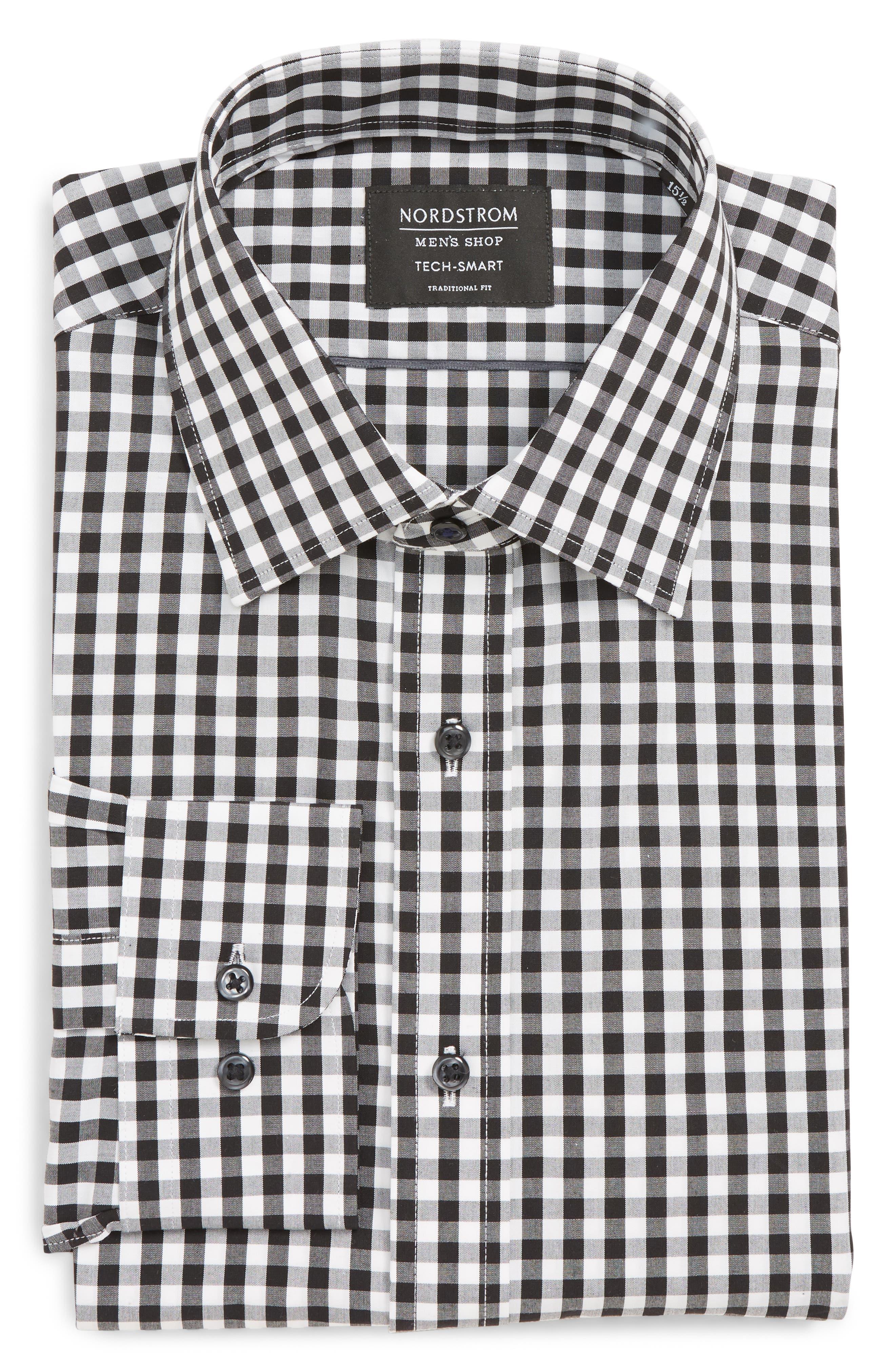 Tech-Smart Traditional Fit Stretch Check Dress Shirt,                         Main,                         color, BLACK ROCK