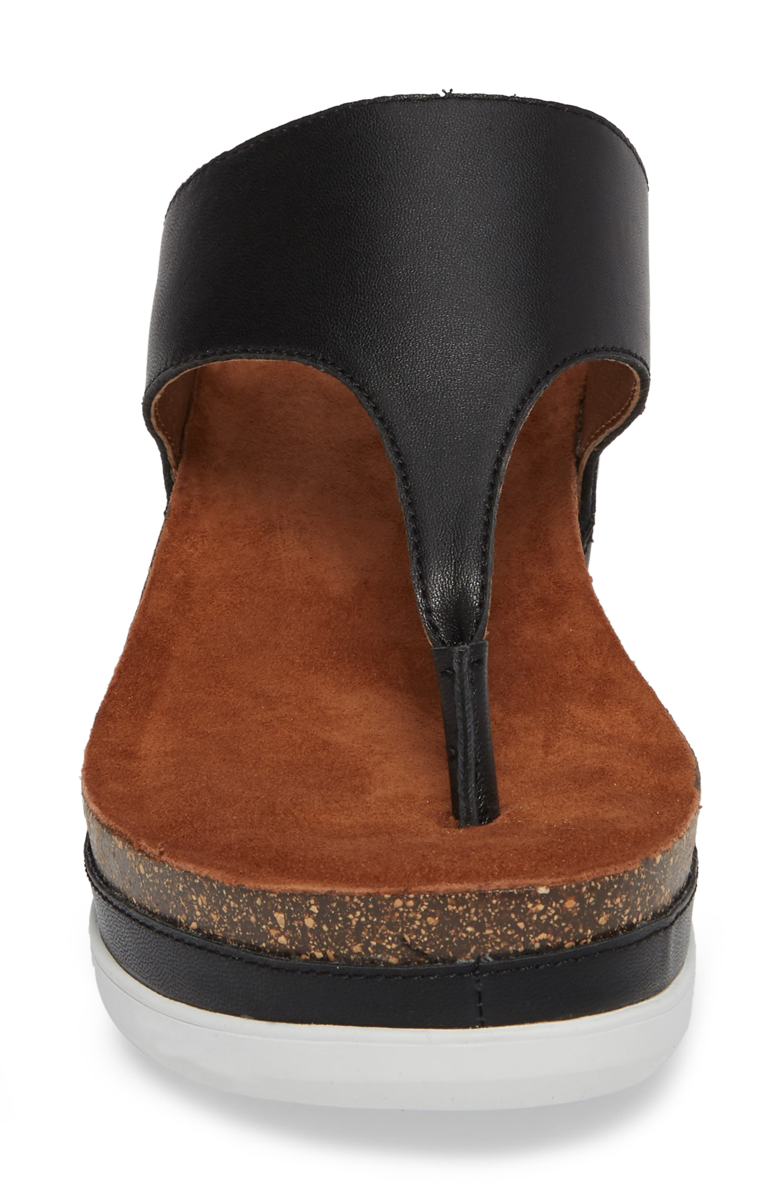 Paige Wedge Mule,                             Alternate thumbnail 4, color,                             BLACK LEATHER