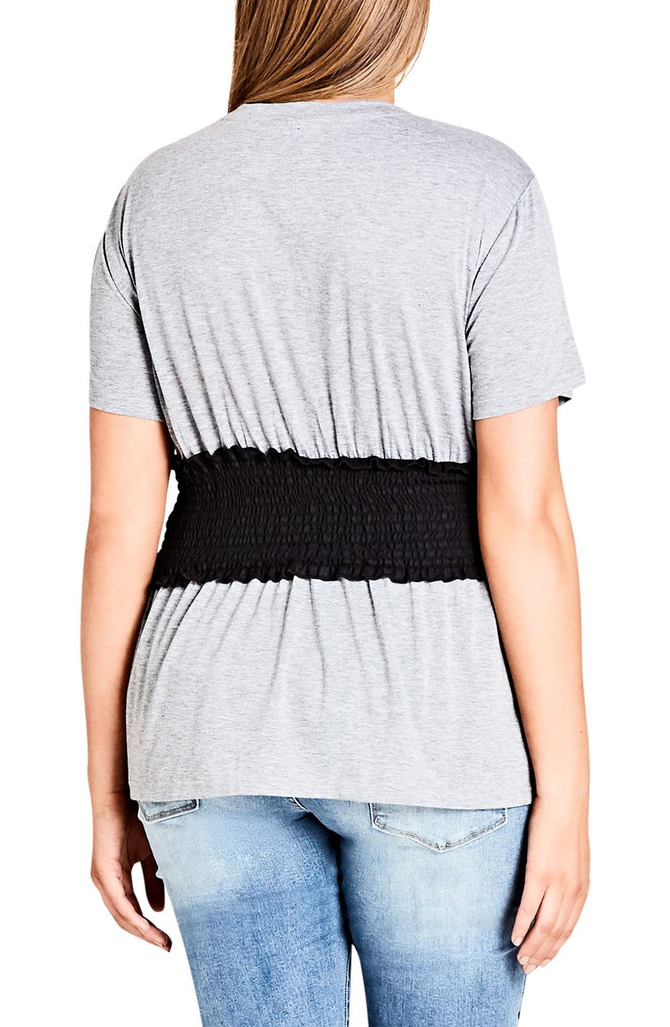 Smock Waist Tee,                             Alternate thumbnail 2, color,                             GREY