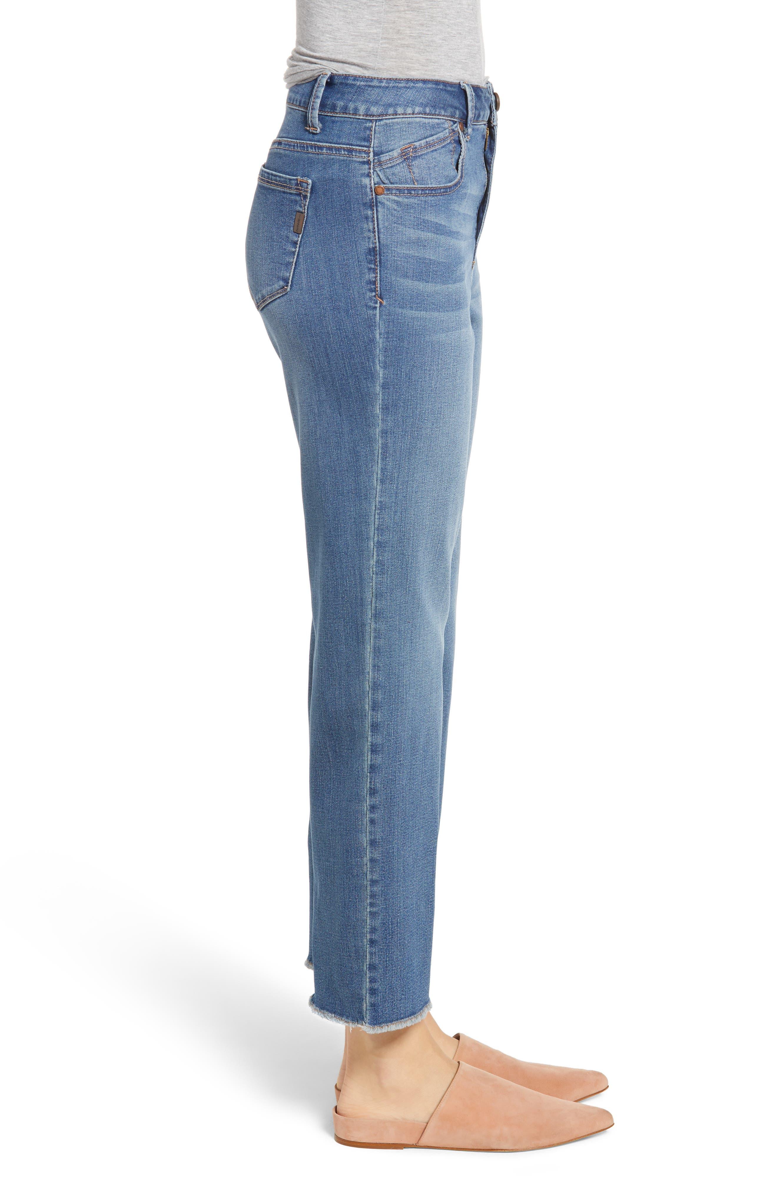 Ankle Straight Leg Jeans,                             Alternate thumbnail 3, color,                             KORN LIGHT WASH