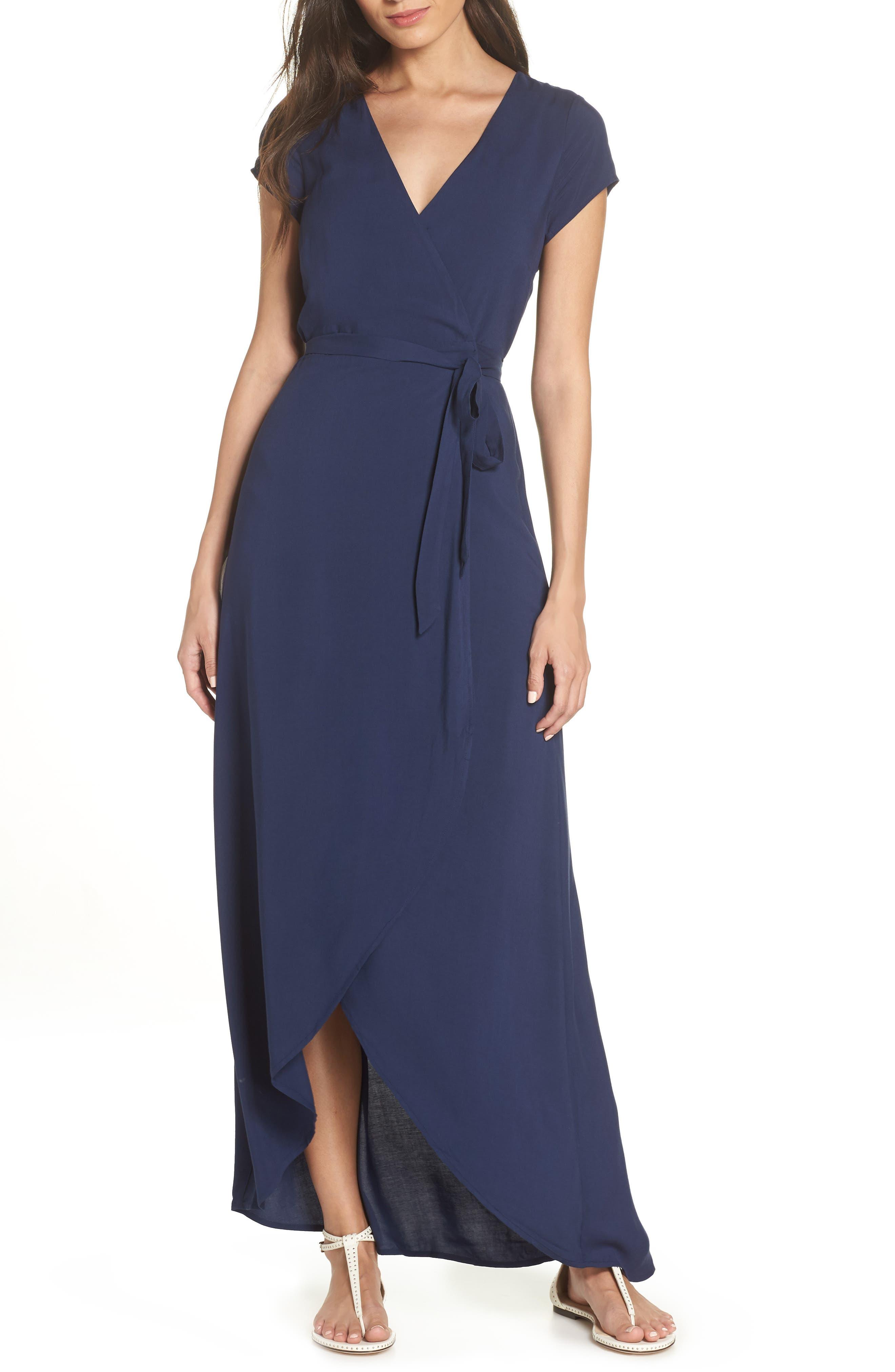 Goa Cover-Up Maxi Wrap Dress,                             Main thumbnail 1, color,                             MIDNIGHT BLUE