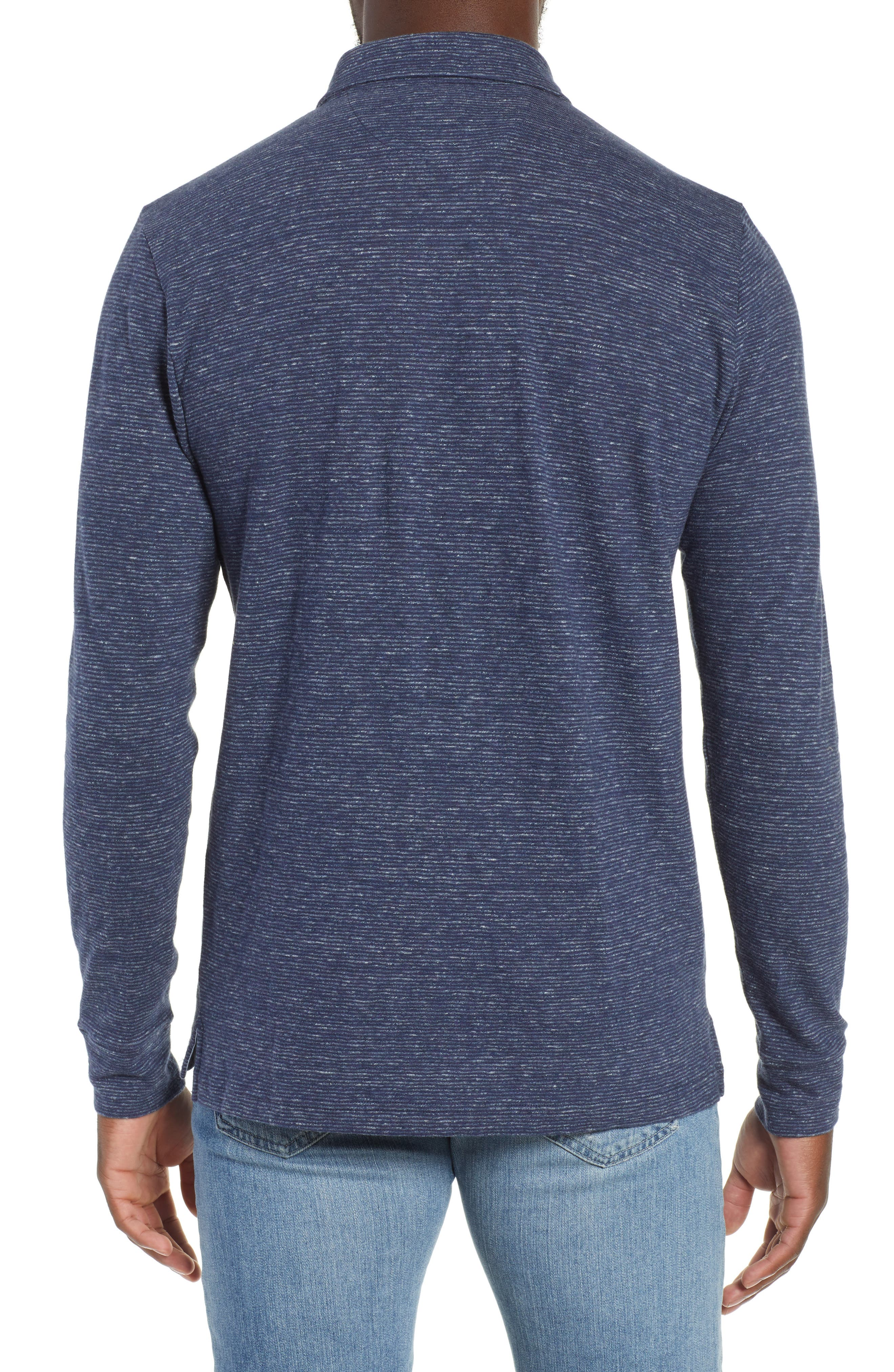 Luxe Heather Long Sleeve Polo,                             Alternate thumbnail 2, color,                             NAVY STRIPE