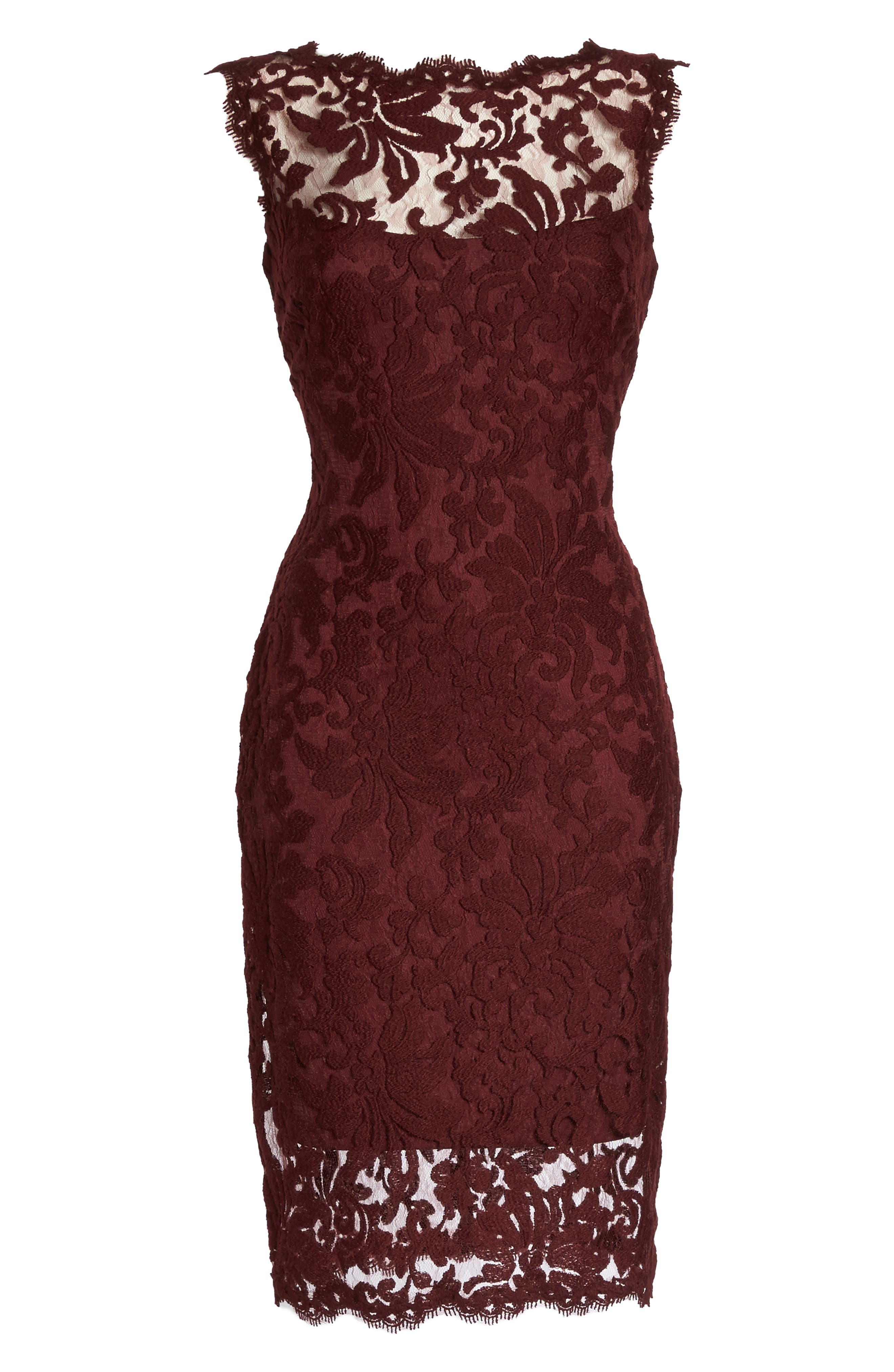 Embroidered Lace Sheath Dress,                             Alternate thumbnail 6, color,                             931