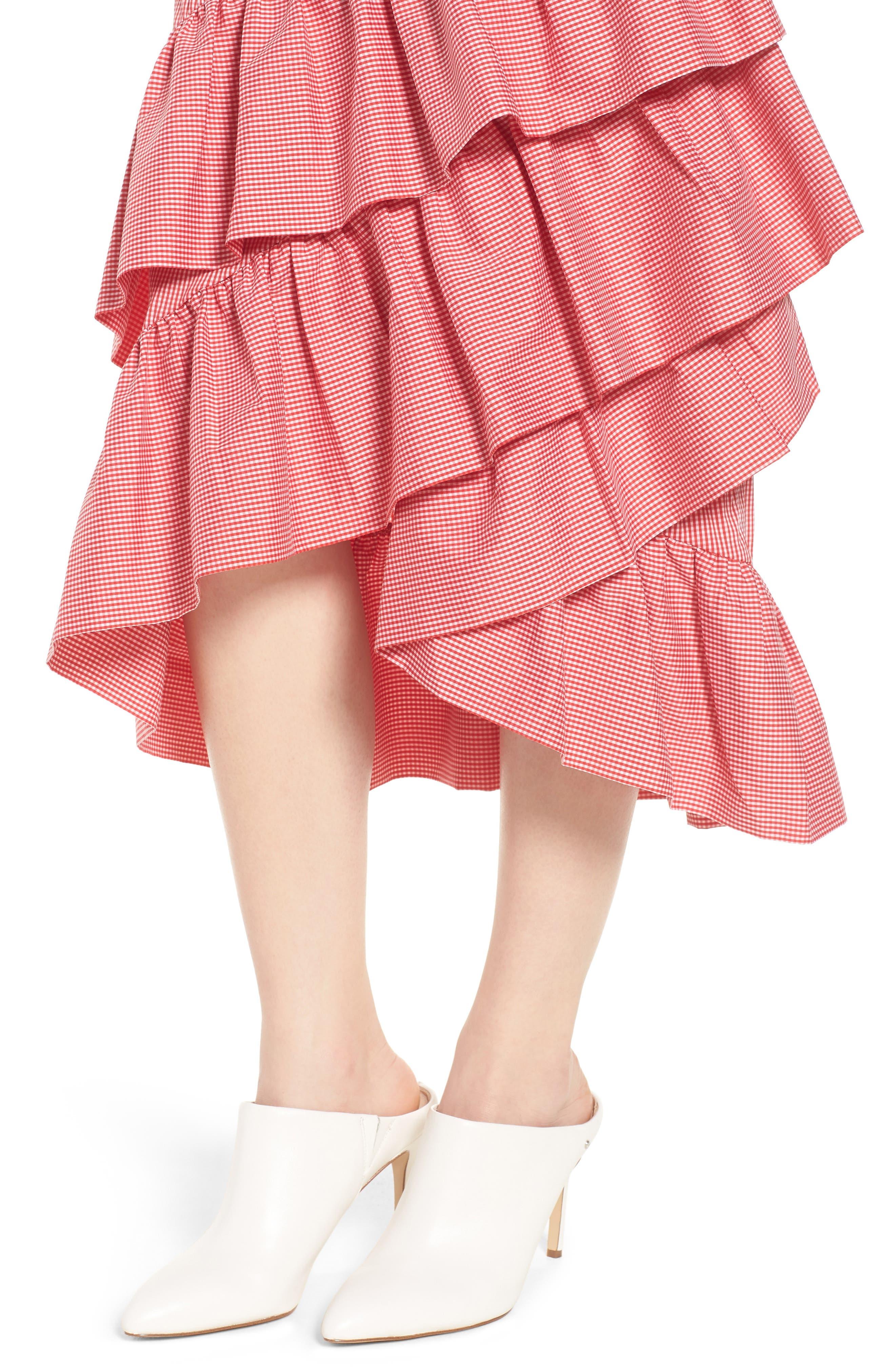 Gingham Ruffle Skirt,                             Alternate thumbnail 8, color,