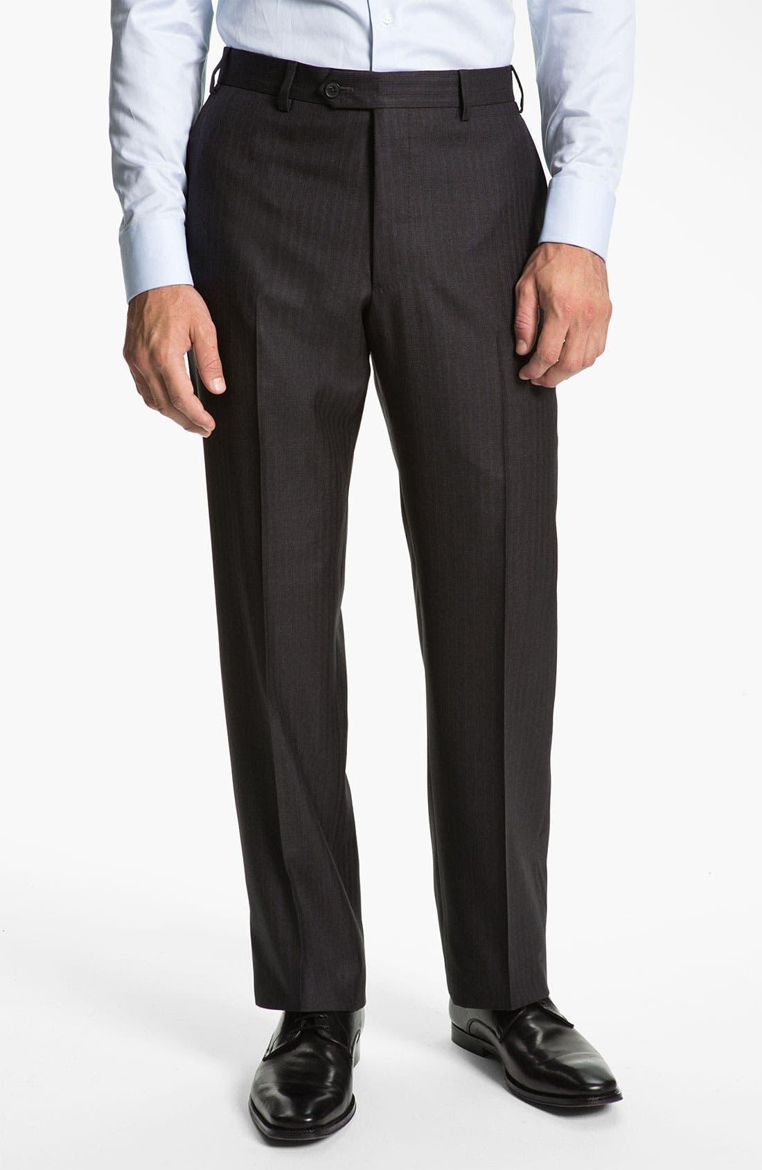 Armani Collezioni 'Giorgio' Trim Fit Stripe Suit,                             Alternate thumbnail 4, color,                             024