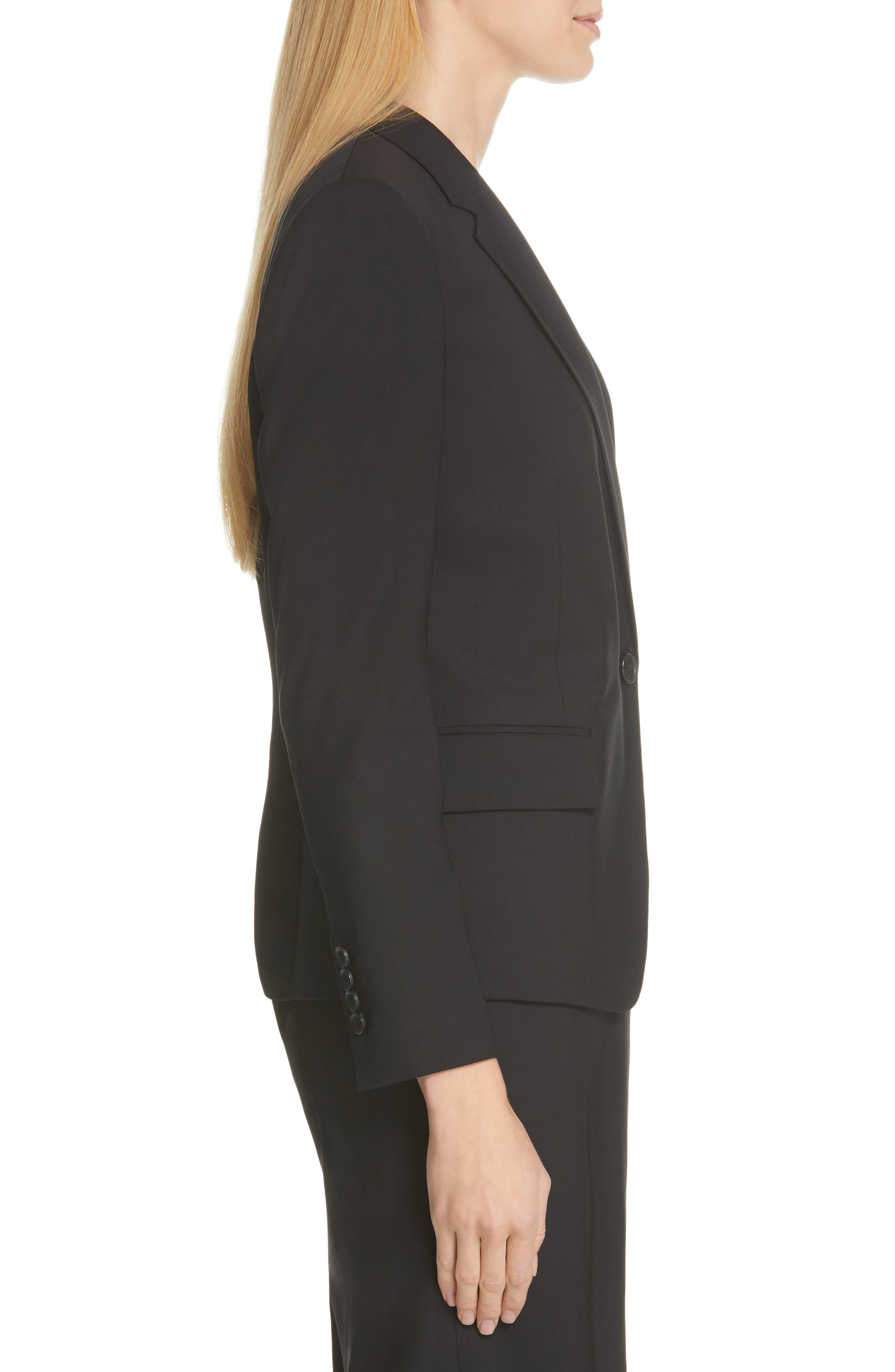 BOSS,                             Jaela Stretch Wool Suit Jacket,                             Alternate thumbnail 3, color,                             BLACK